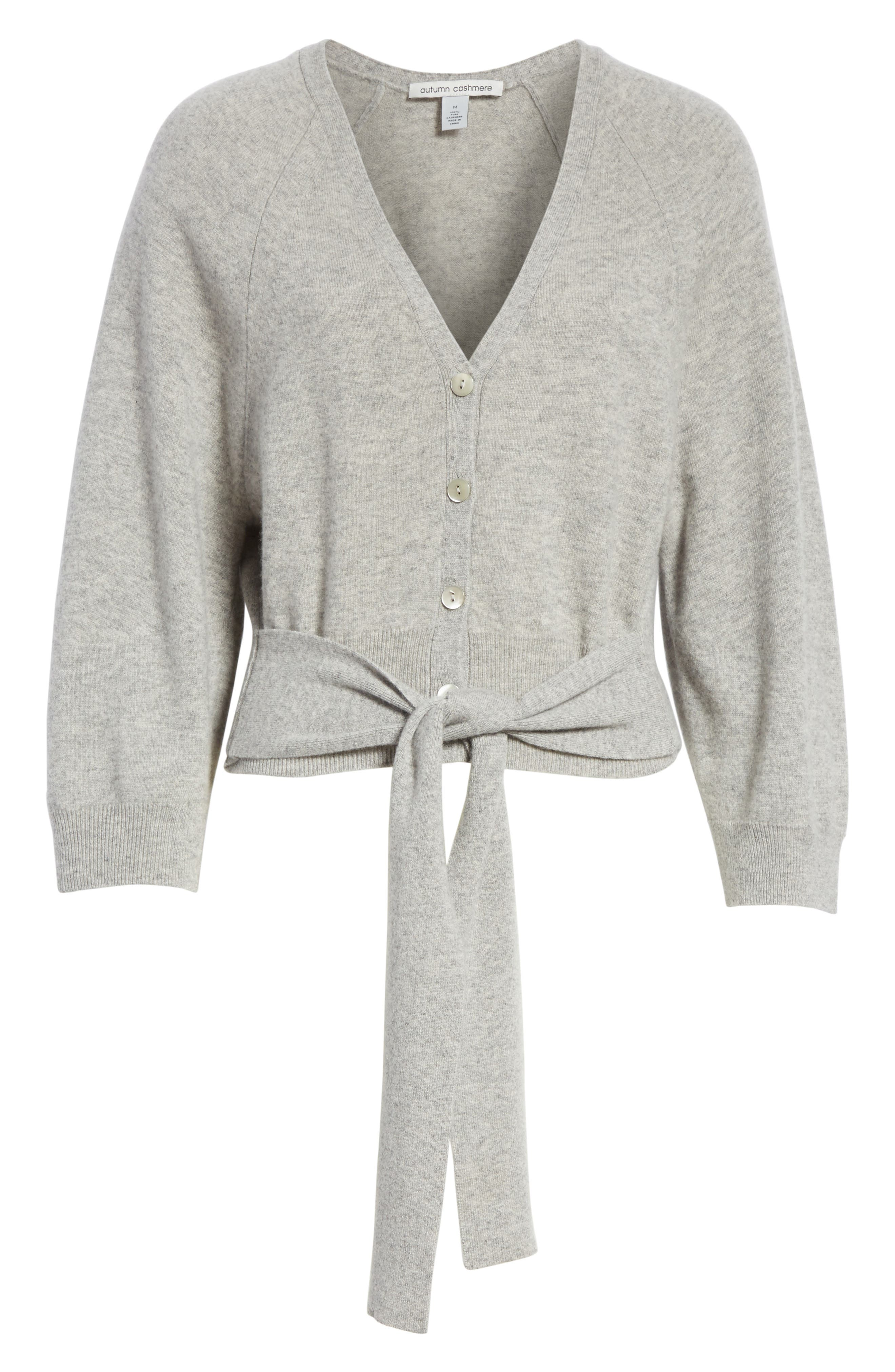 Wide Sleeve Tie Front Button Cardigan,                             Alternate thumbnail 6, color,                             050