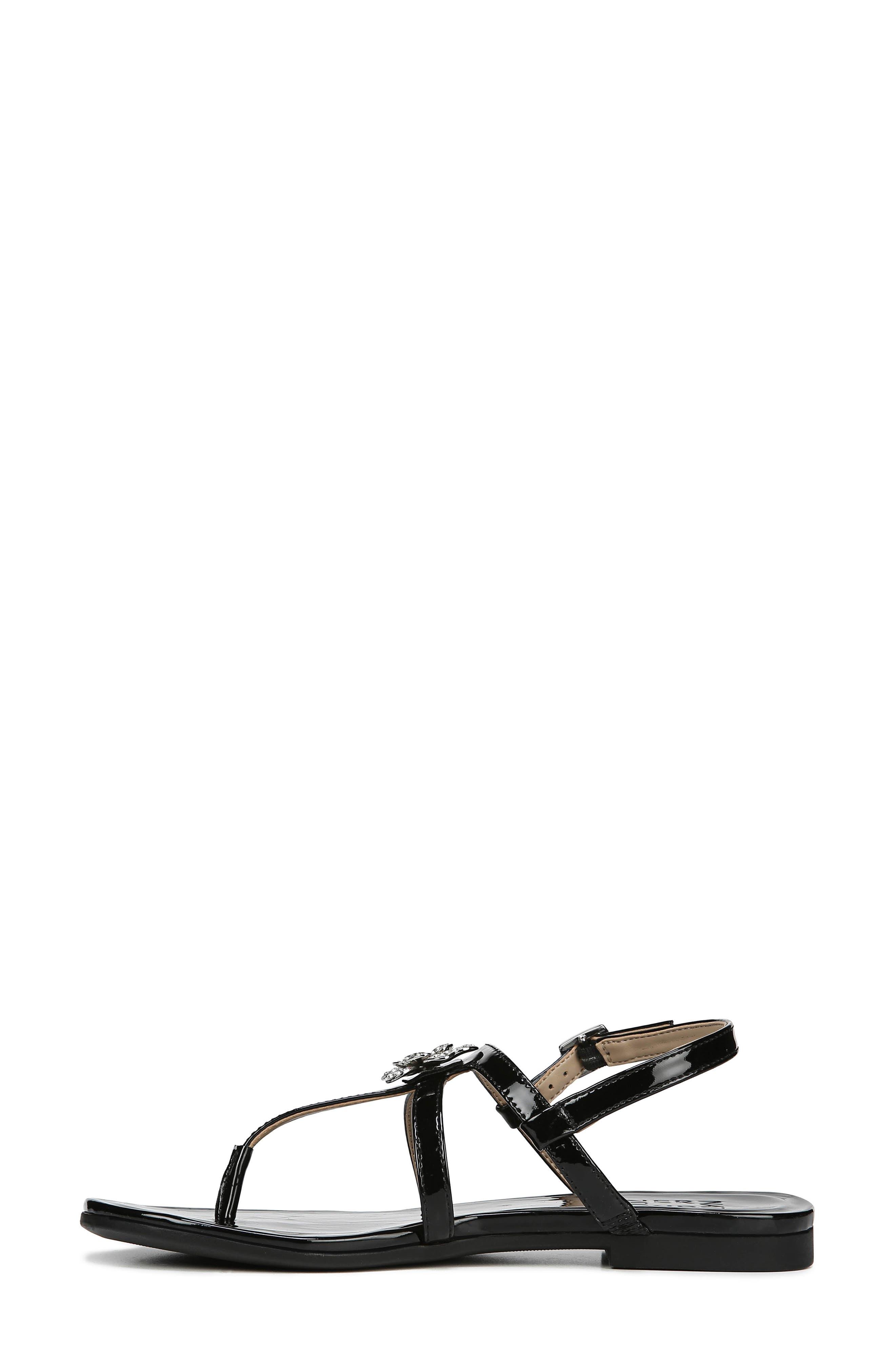 Tilly Embellished Sandal,                             Alternate thumbnail 9, color,                             BLACK PATENT FAUX LEATHER