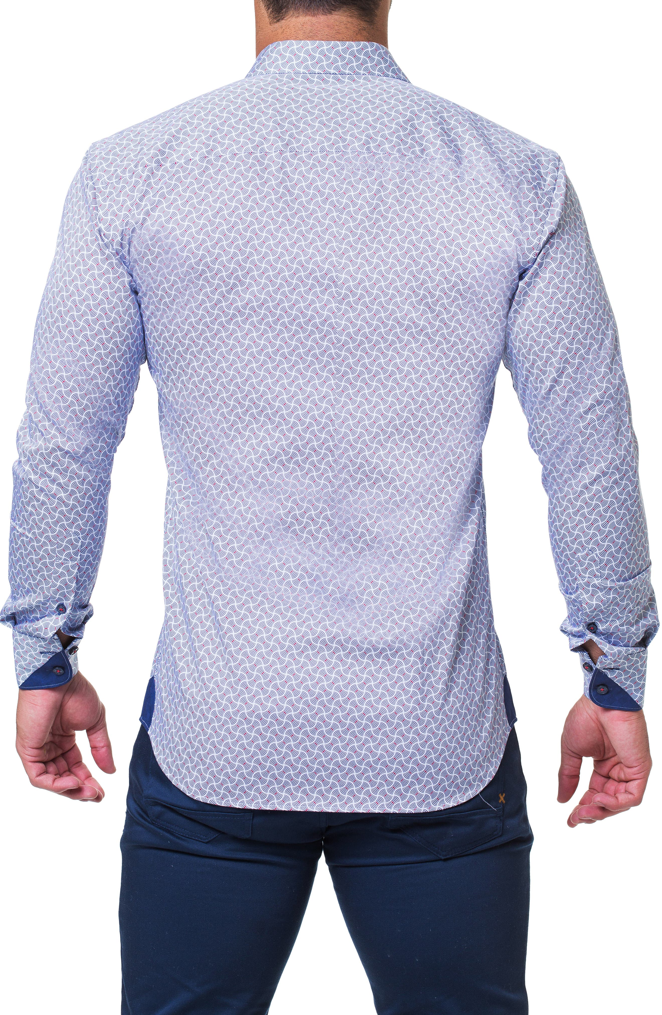 Einstein Illusion Trim Fit Sport Shirt,                             Alternate thumbnail 2, color,                             BLUE