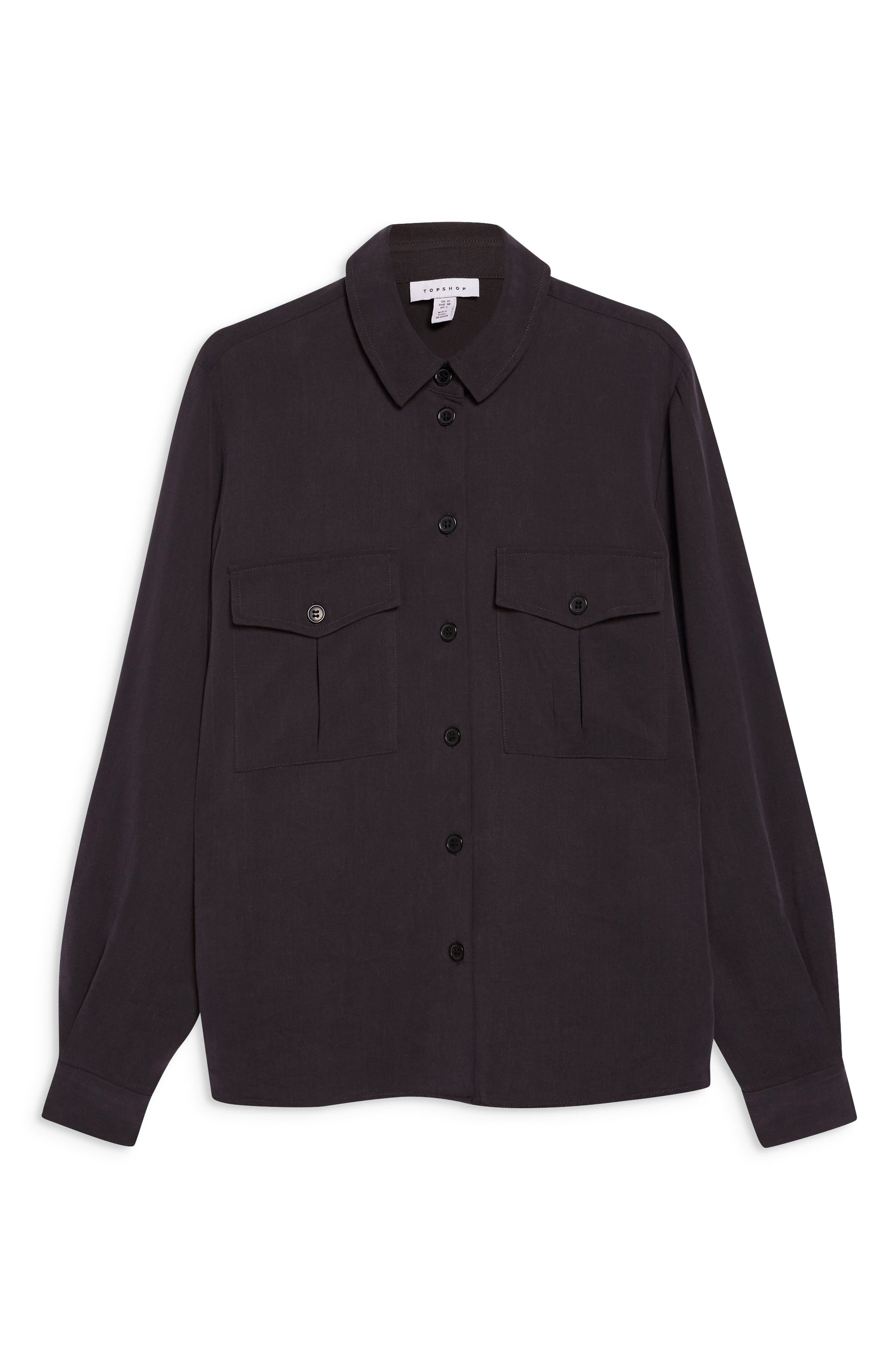 TOPSHOP,                             Double Pocket Utility Shirt,                             Alternate thumbnail 3, color,                             WASHED BLACK