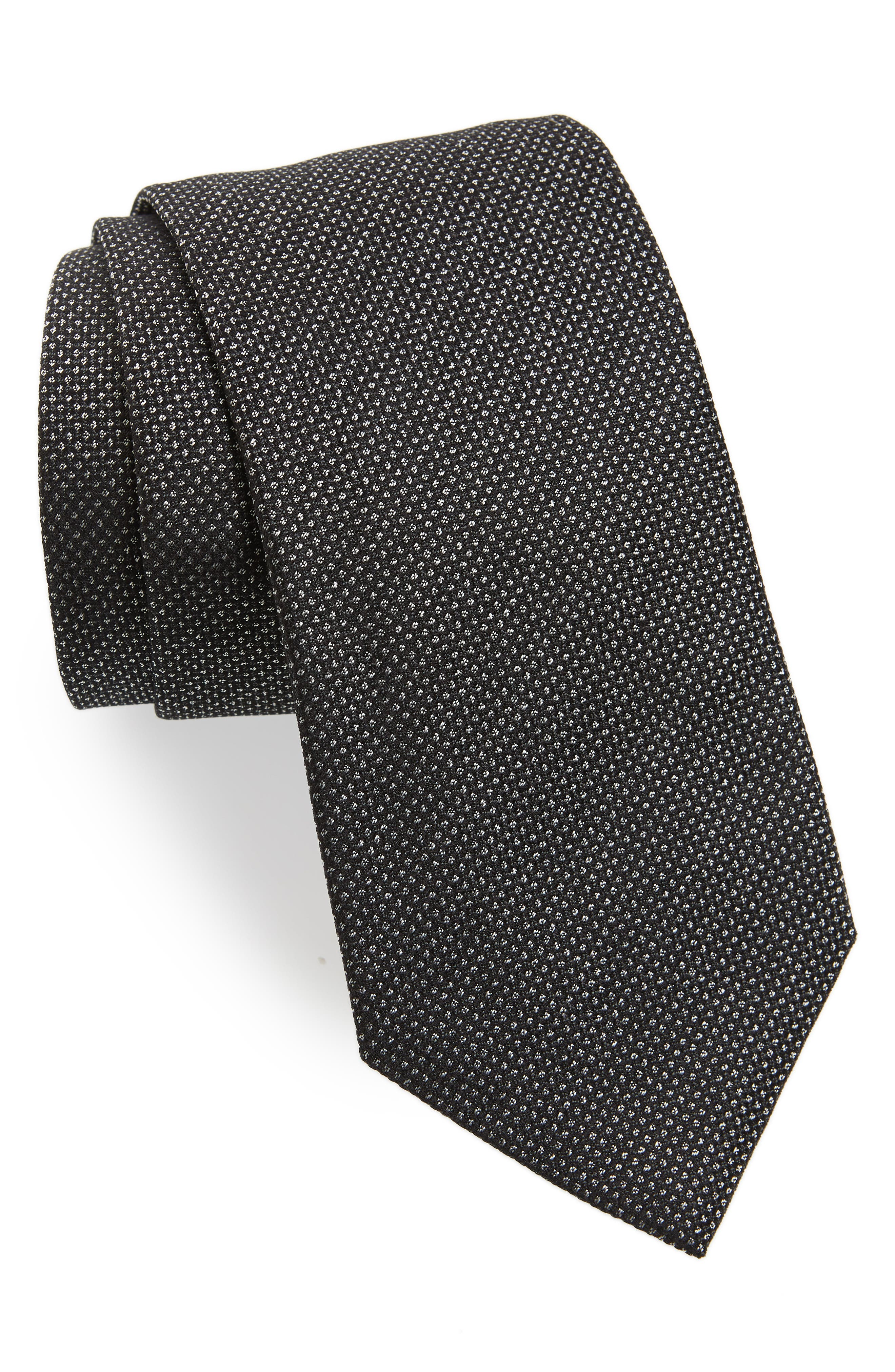 Dot Silk Tie,                             Main thumbnail 1, color,                             BLACK
