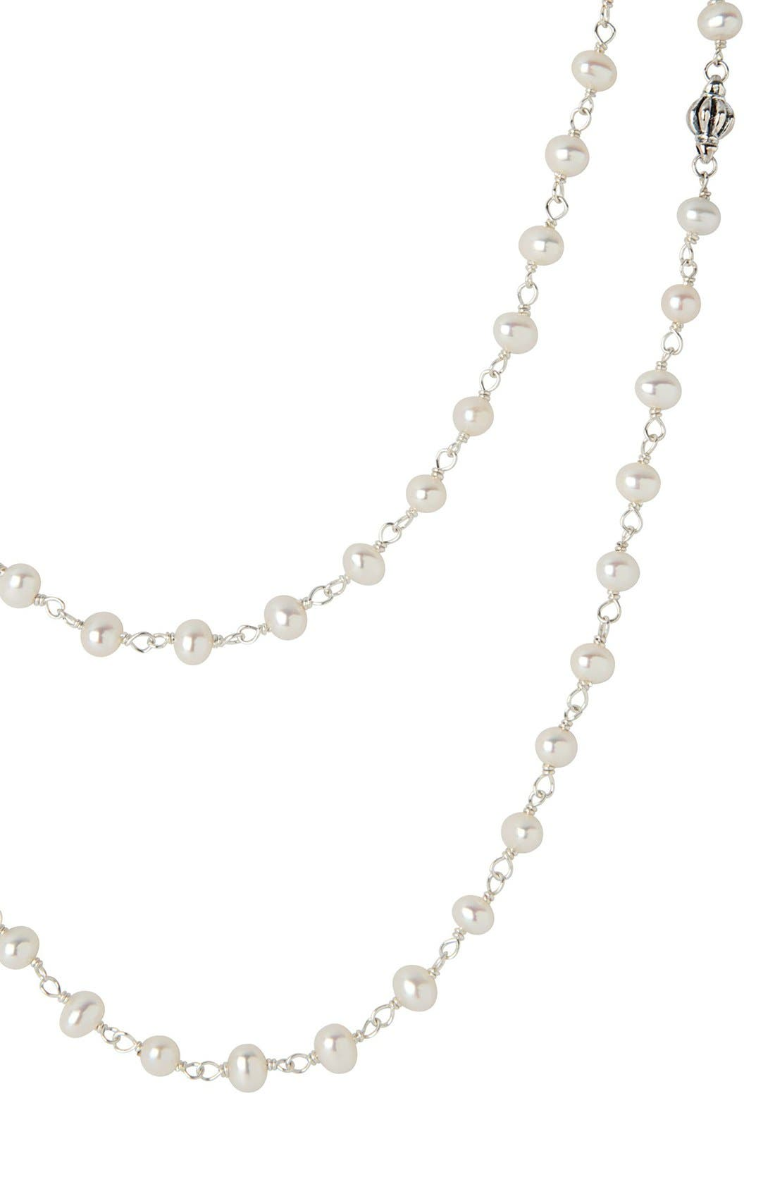 'Luna' Long Pearl Necklace,                             Alternate thumbnail 3, color,                             SILVER/ PEARL