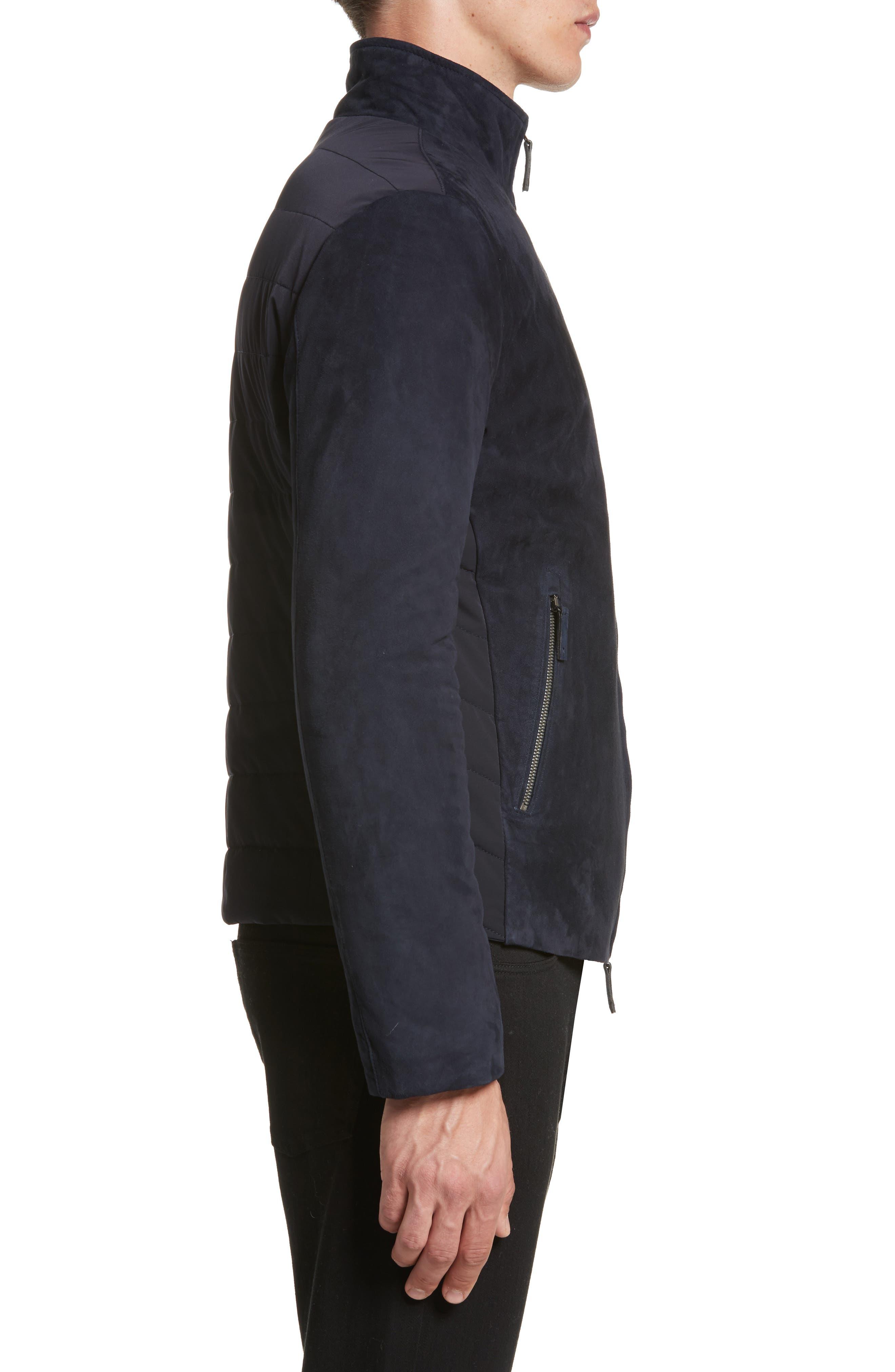Regular Fit Mixed Media Jacket,                             Alternate thumbnail 3, color,                             410