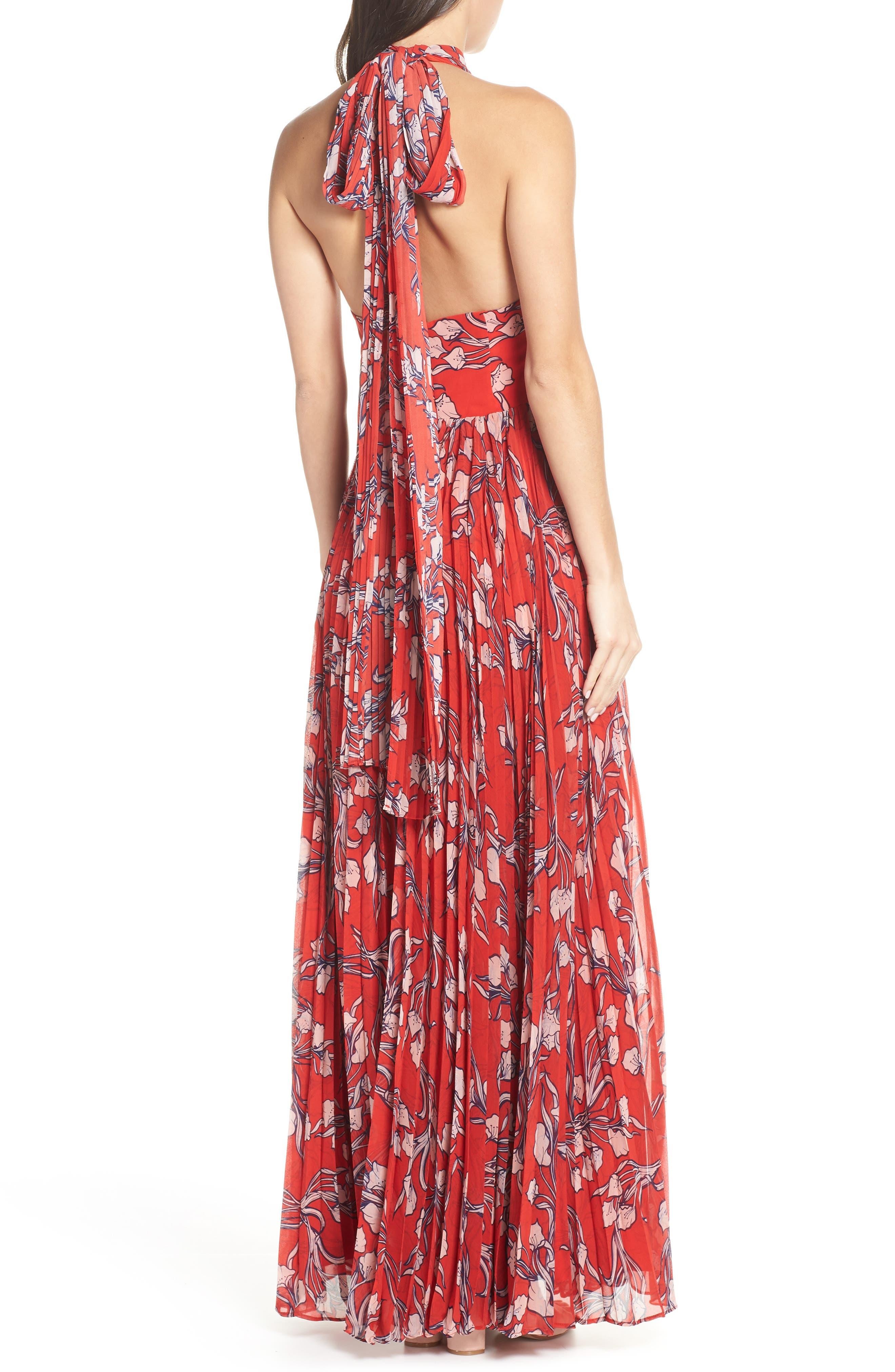 The Zora Chiffon Evening Dress,                             Alternate thumbnail 2, color,                             NOUVEAU FLORAL SUNSET