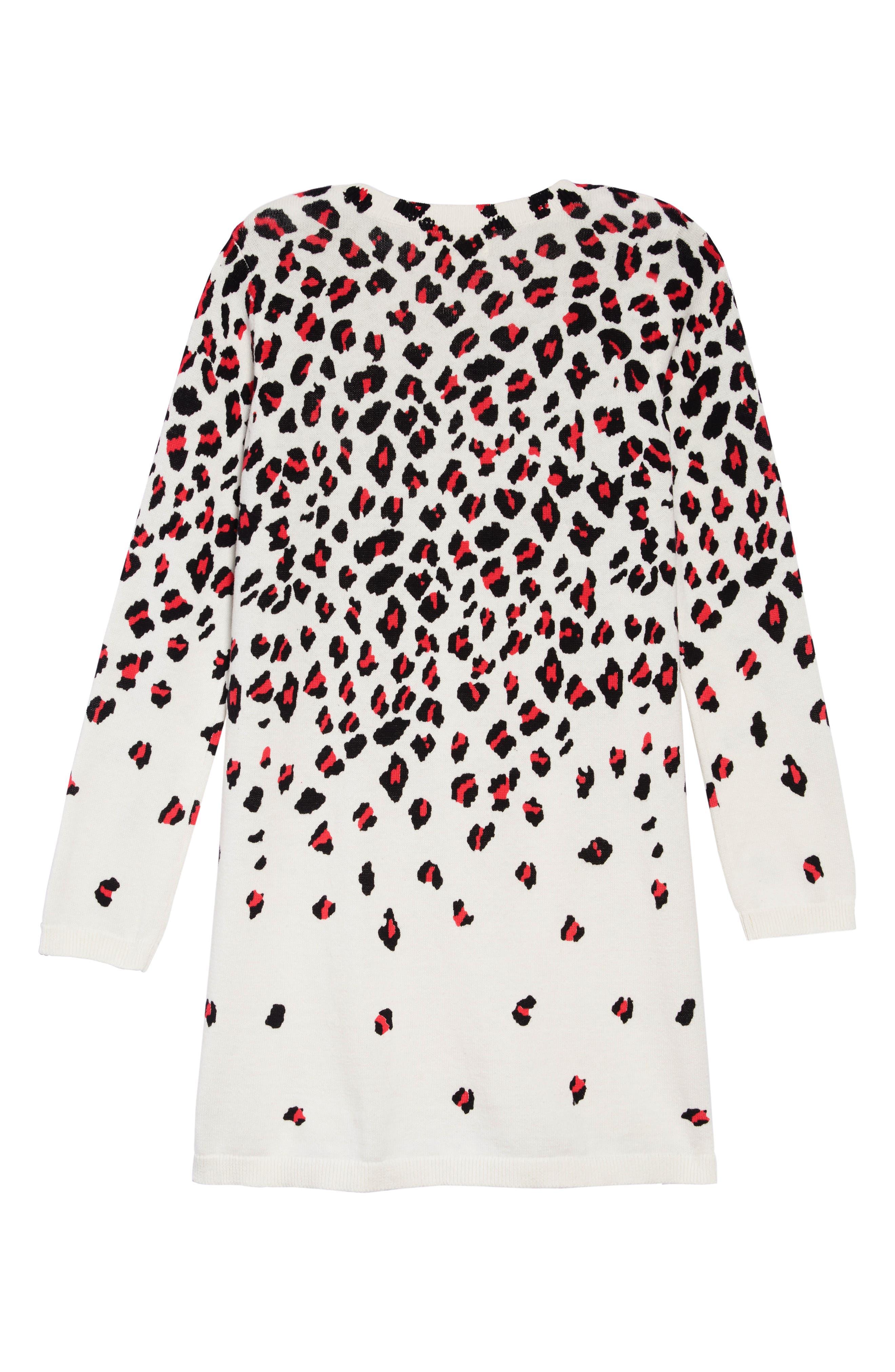 Sweater Dress,                             Alternate thumbnail 2, color,                             IVORY EGRET CHEETAH