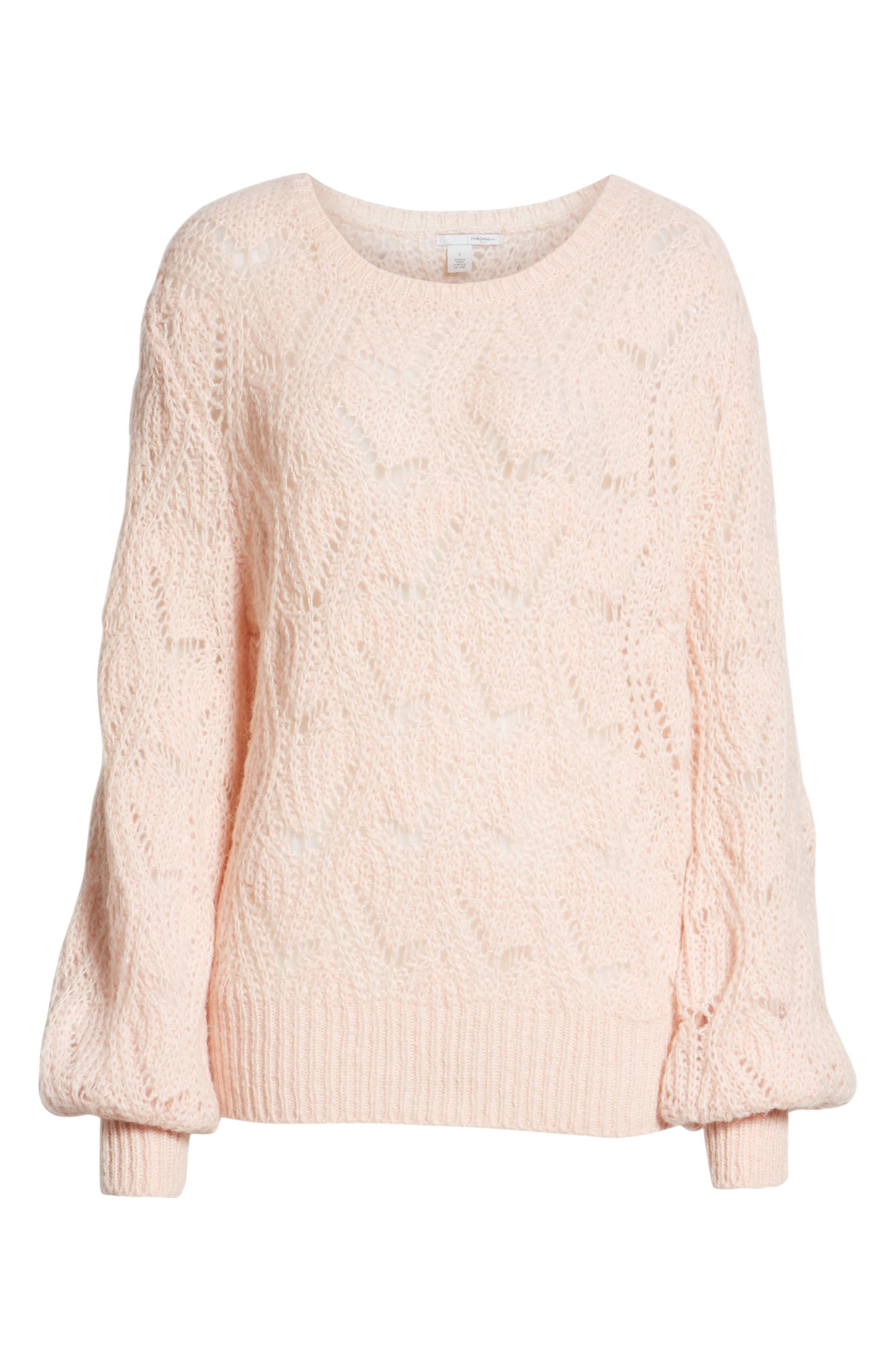 Pointelle Balloon Sleeve Sweater,                             Alternate thumbnail 6, color,                             PINK SMOKE