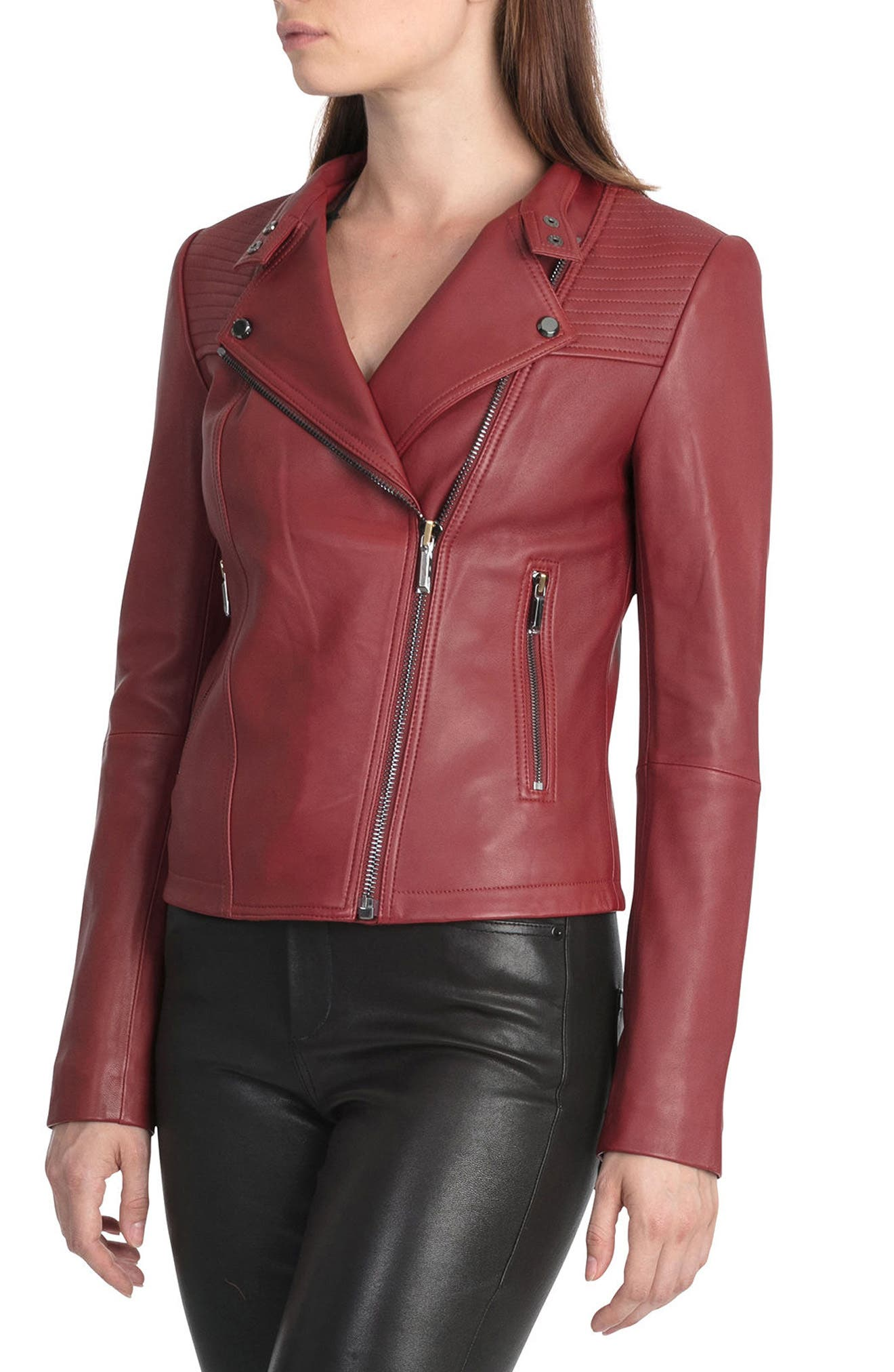 Bagatelle Quilted Lambskin Leather Moto Jacket,                             Alternate thumbnail 10, color,