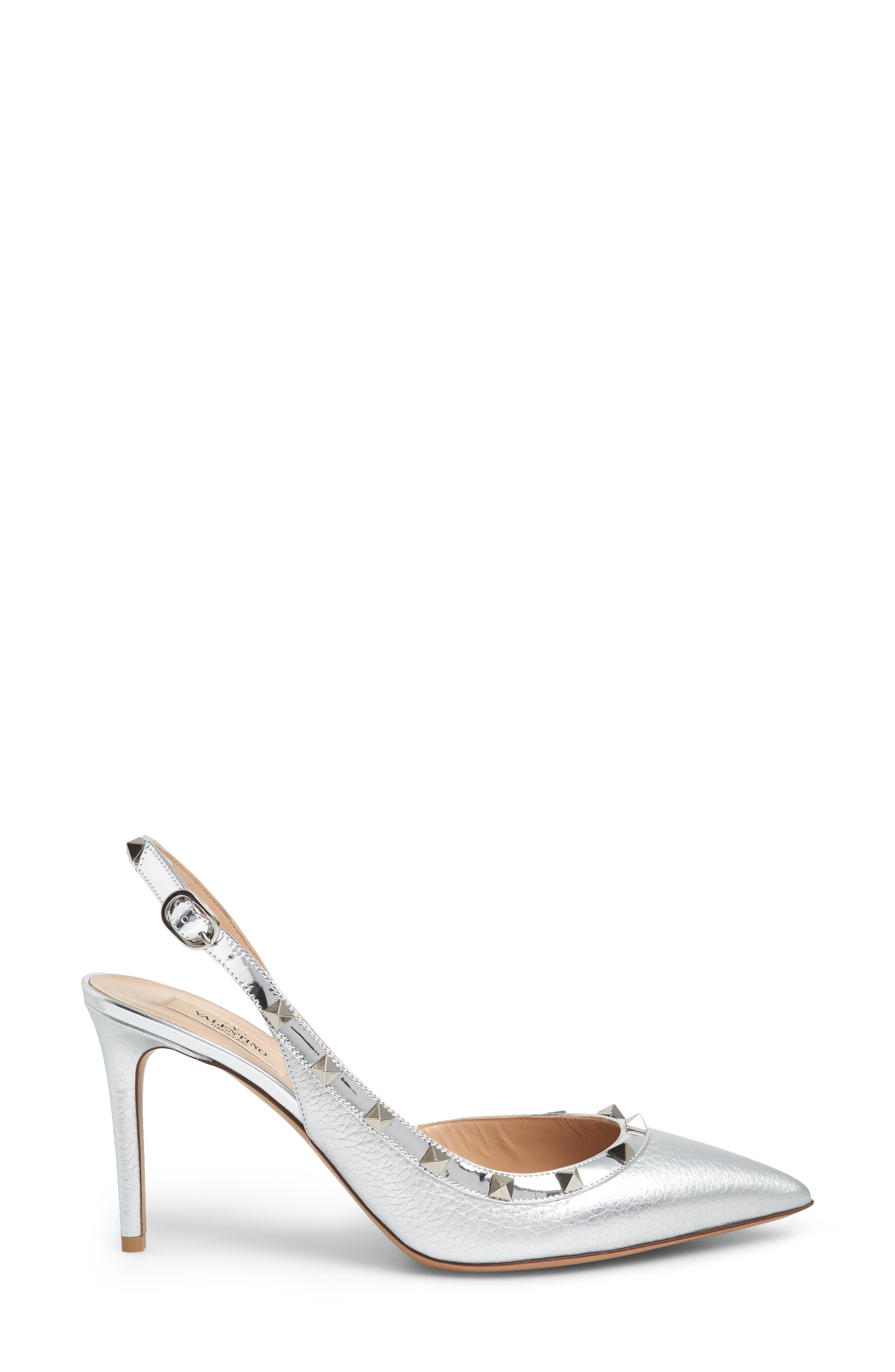 Rockstud Slingback Pump,                             Alternate thumbnail 3, color,                             SILVER