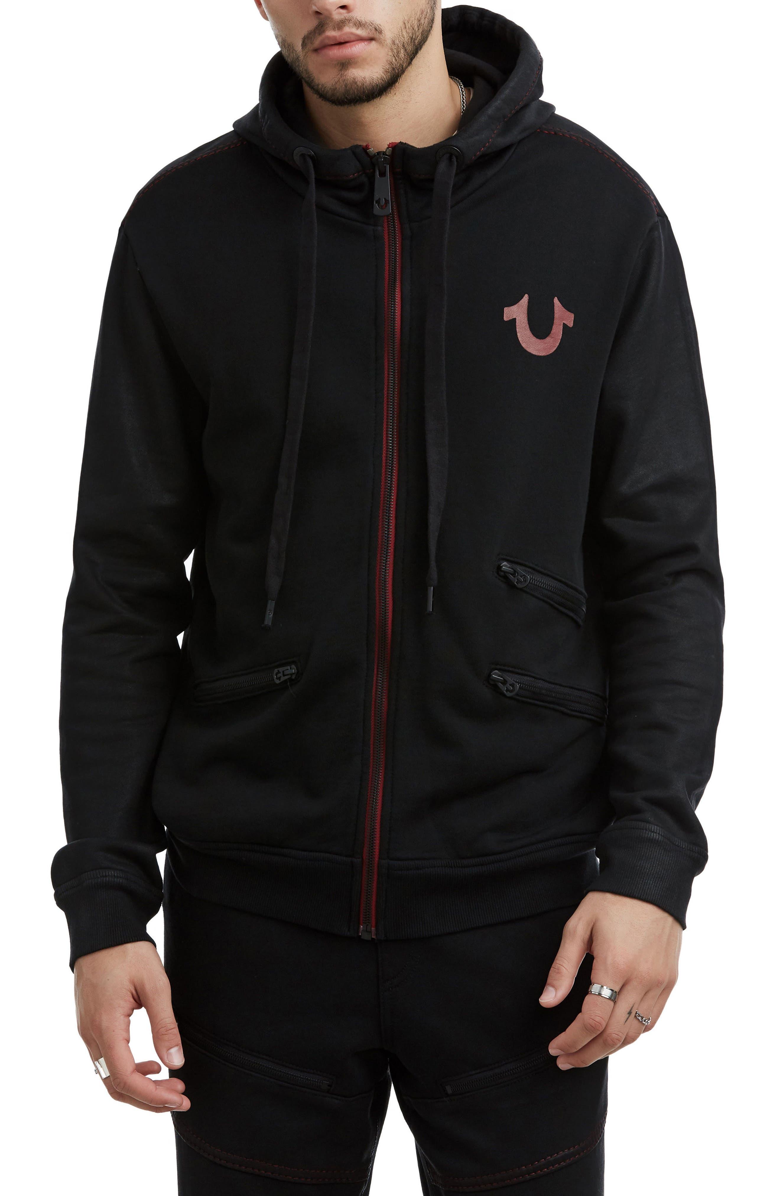Coated Zip-Up Hoodie,                         Main,                         color, TRUE BLACK