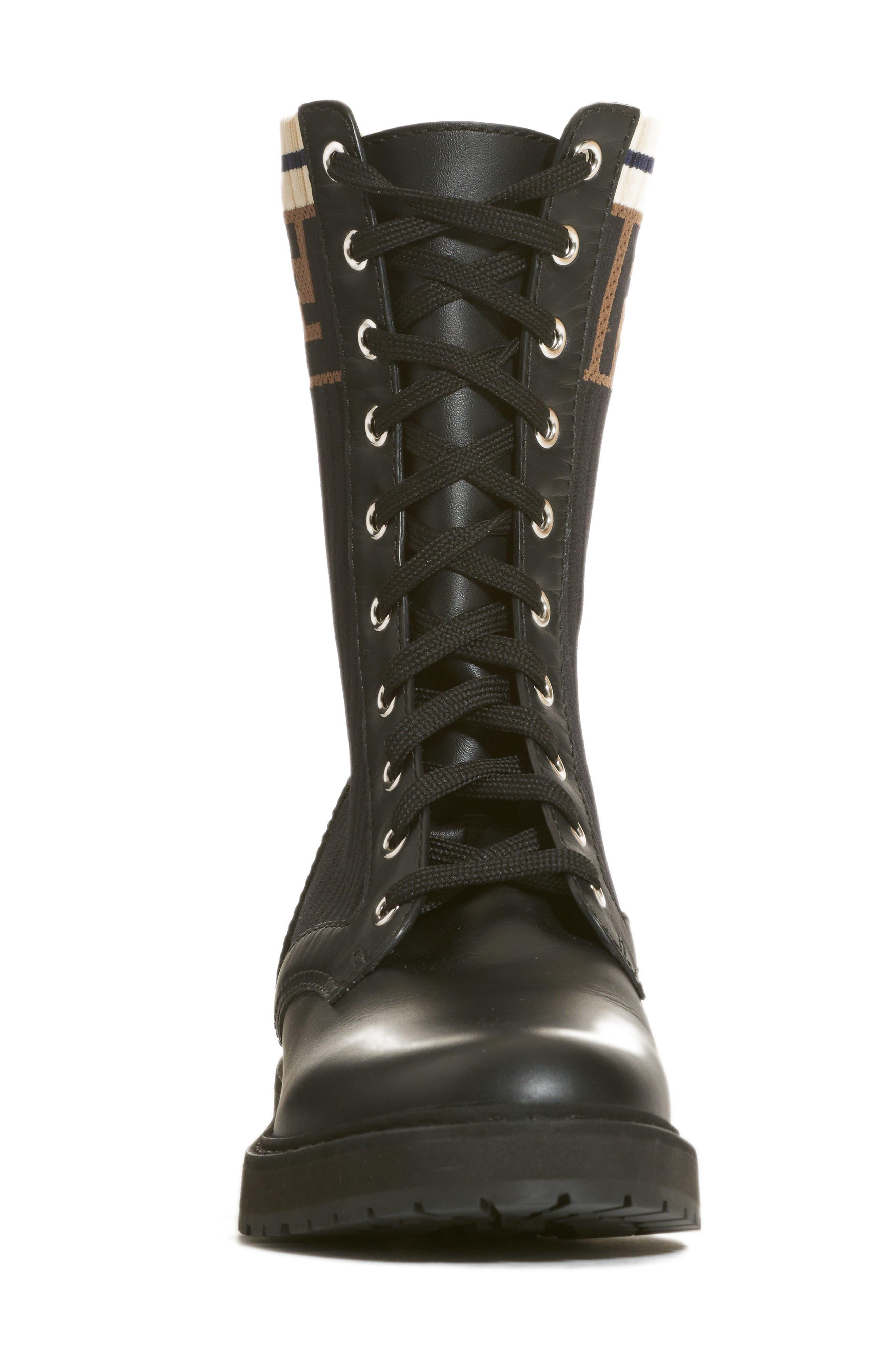 FENDI,                             Rockoko Chelsea Sock Combat Boot,                             Alternate thumbnail 4, color,                             004