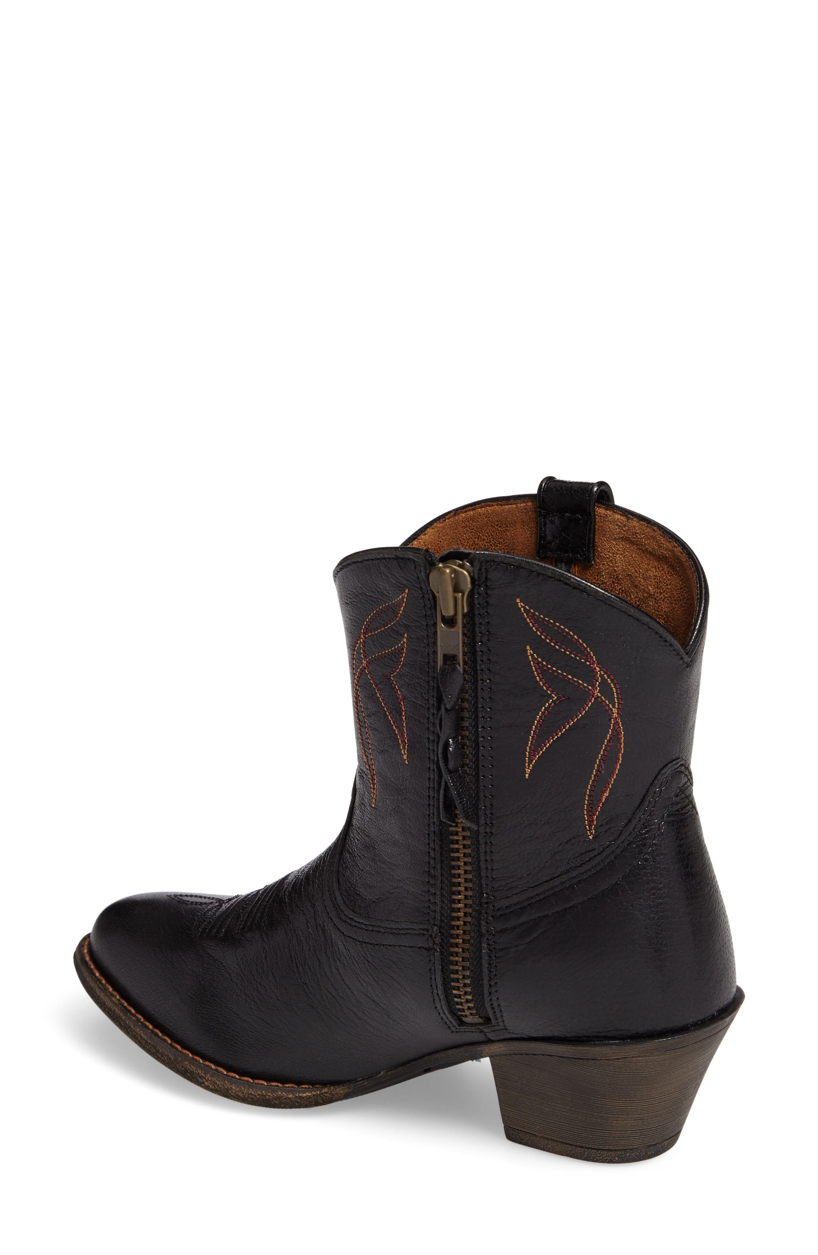 Darlin Short Western Boot,                             Alternate thumbnail 2, color,                             OLD BLACK LEATHER