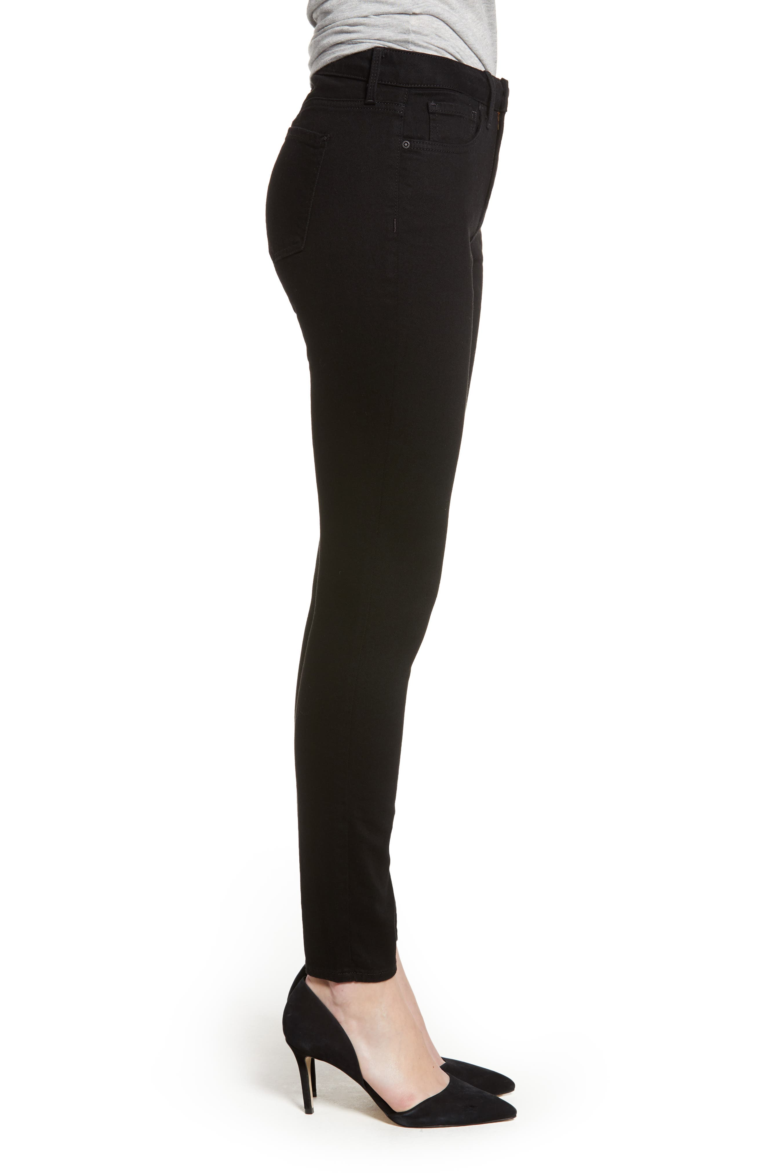 Ami High Waist Stretch Super Skinny Jeans,                             Alternate thumbnail 3, color,                             BLACK