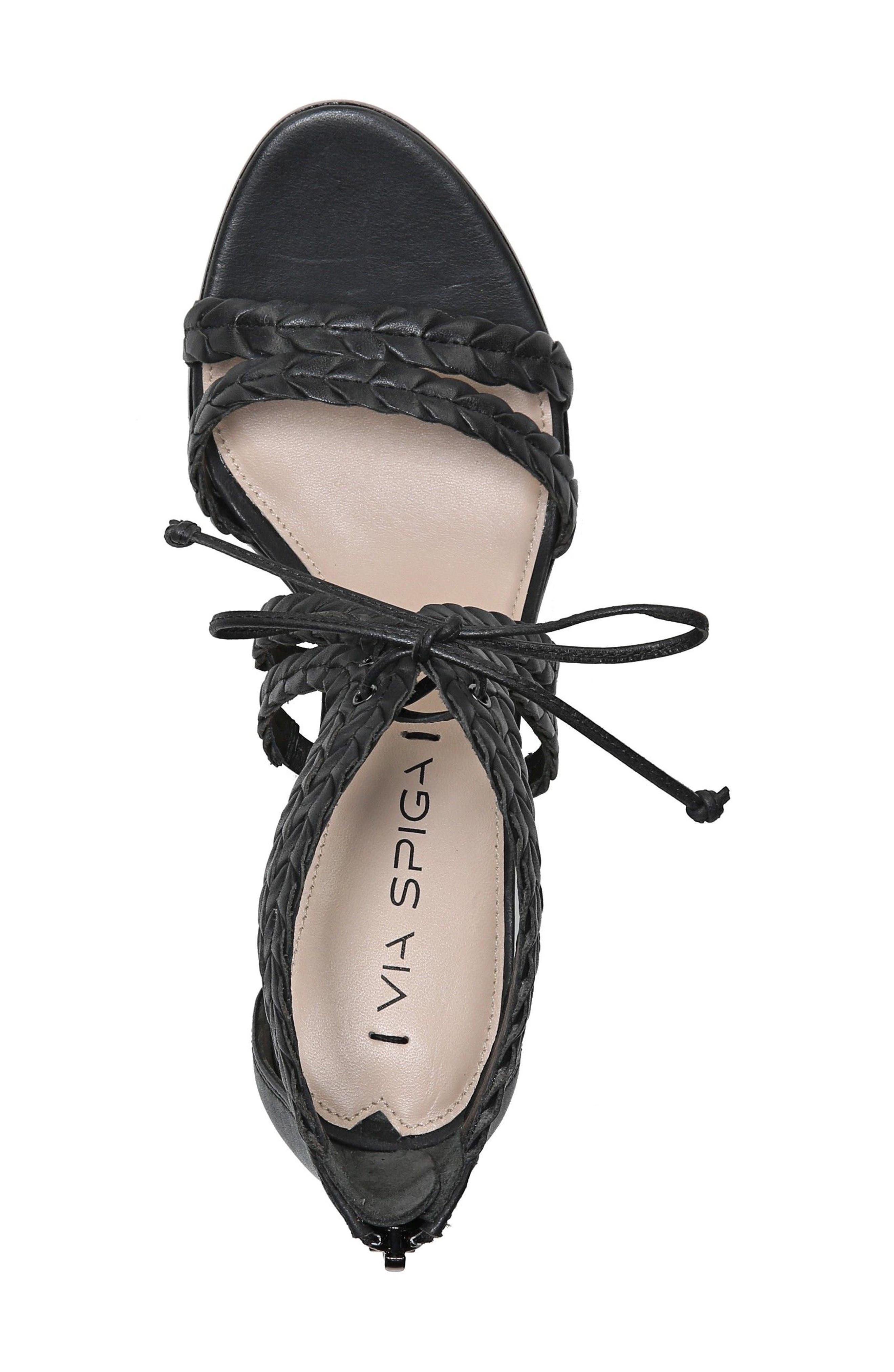 VIA SPIGA,                             Gardenia Lace-Up Sandal,                             Alternate thumbnail 4, color,                             001
