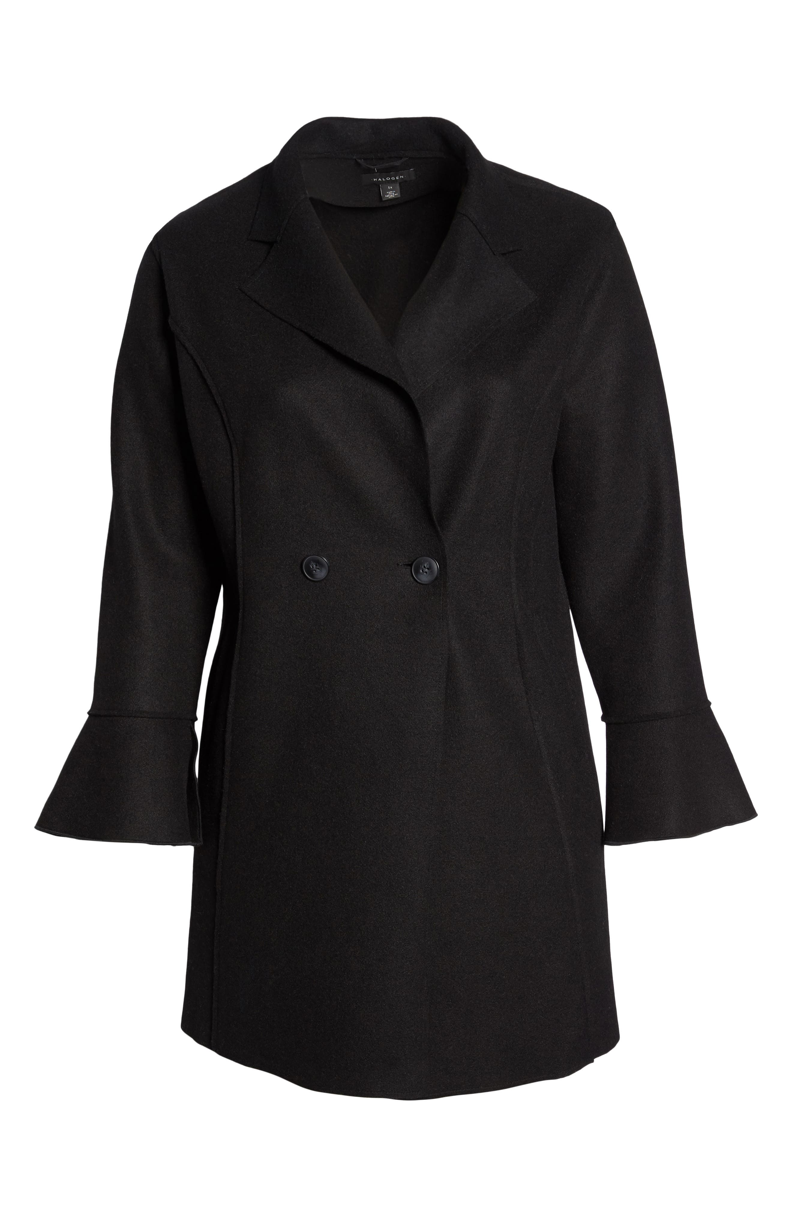 HALOGEN<SUP>®</SUP>,                             Raw Edge Bell Sleeve Coat,                             Alternate thumbnail 6, color,                             001