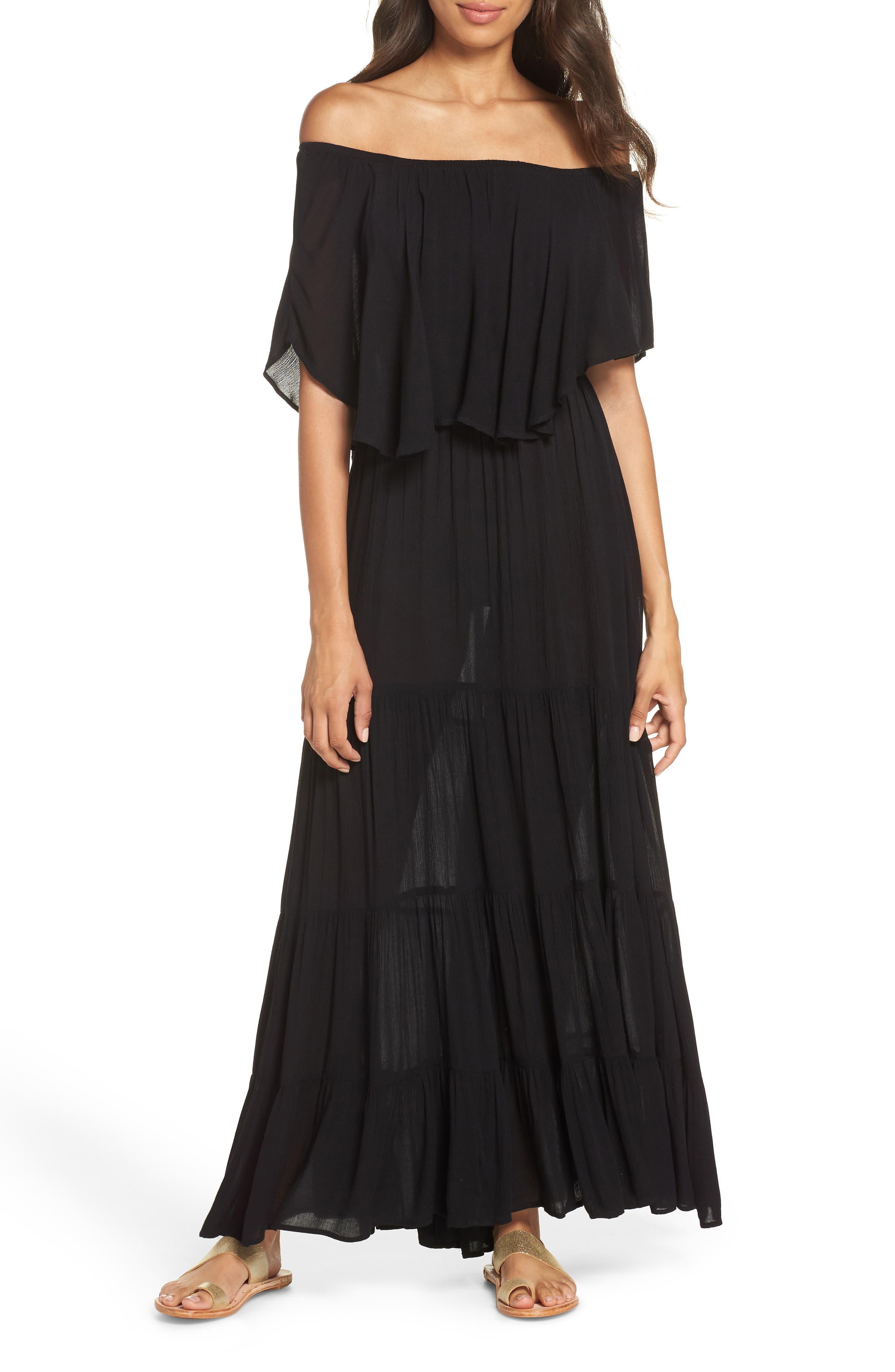Elan Off The Shoulder Ruffle Cover-Up Maxi Dress, Black