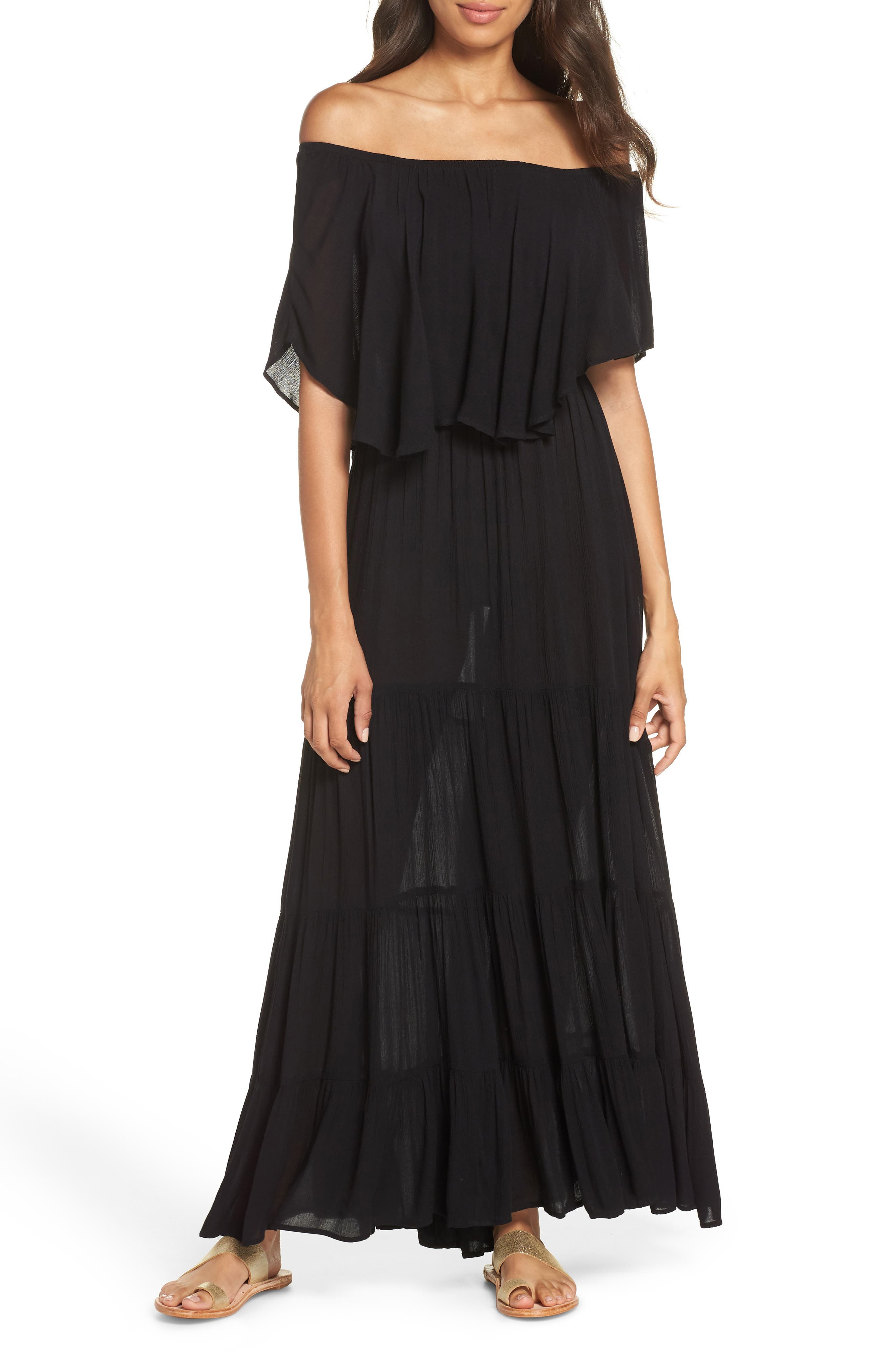 Off the Shoulder Ruffle Cover-Up Maxi Dress,                         Main,                         color, BLACK