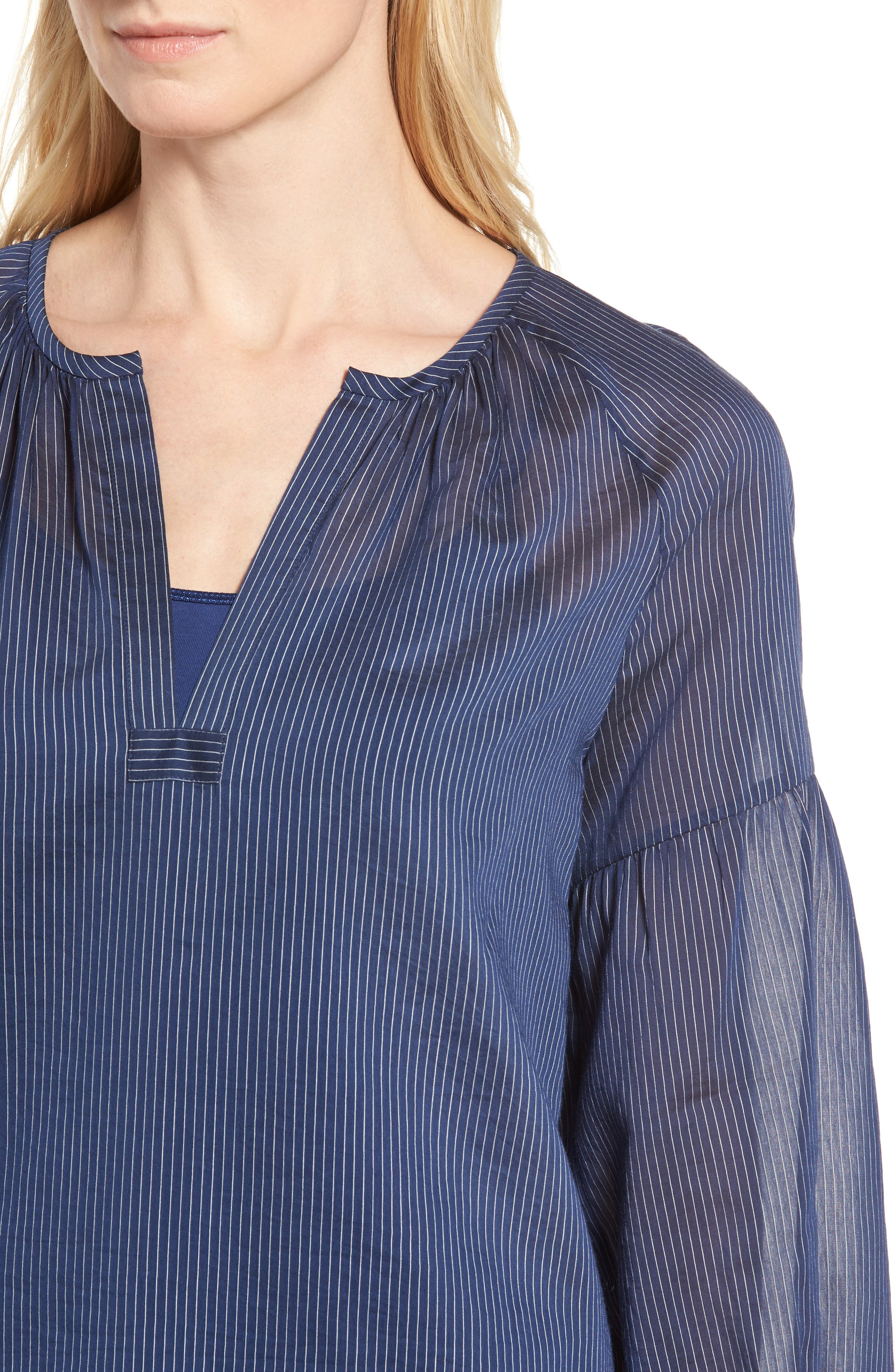 Stripe Cotton & Silk Top,                             Alternate thumbnail 4, color,                             410