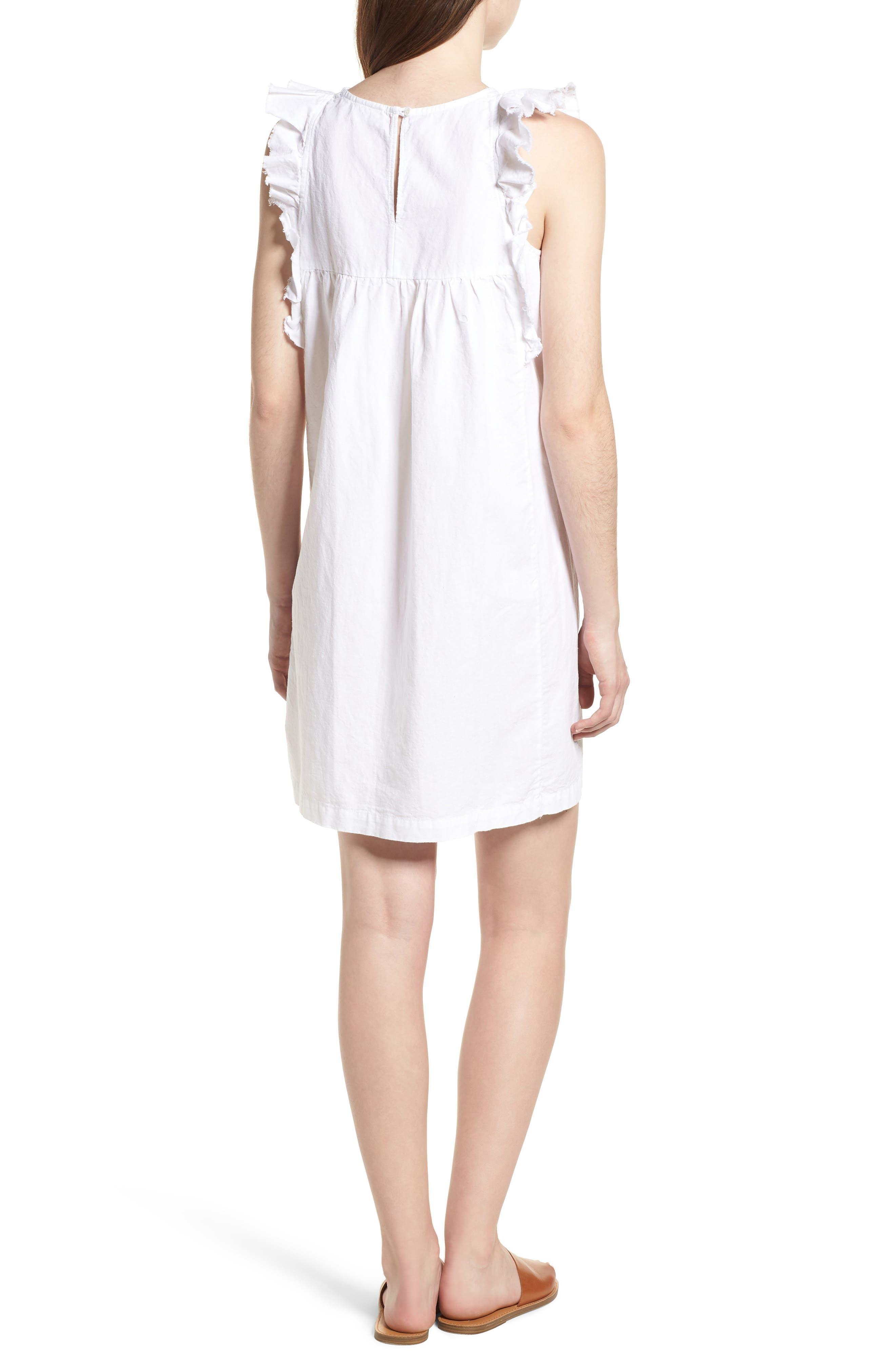 Jennifer Ruffle Babydoll Dress,                             Alternate thumbnail 2, color,                             TRUE WHITE