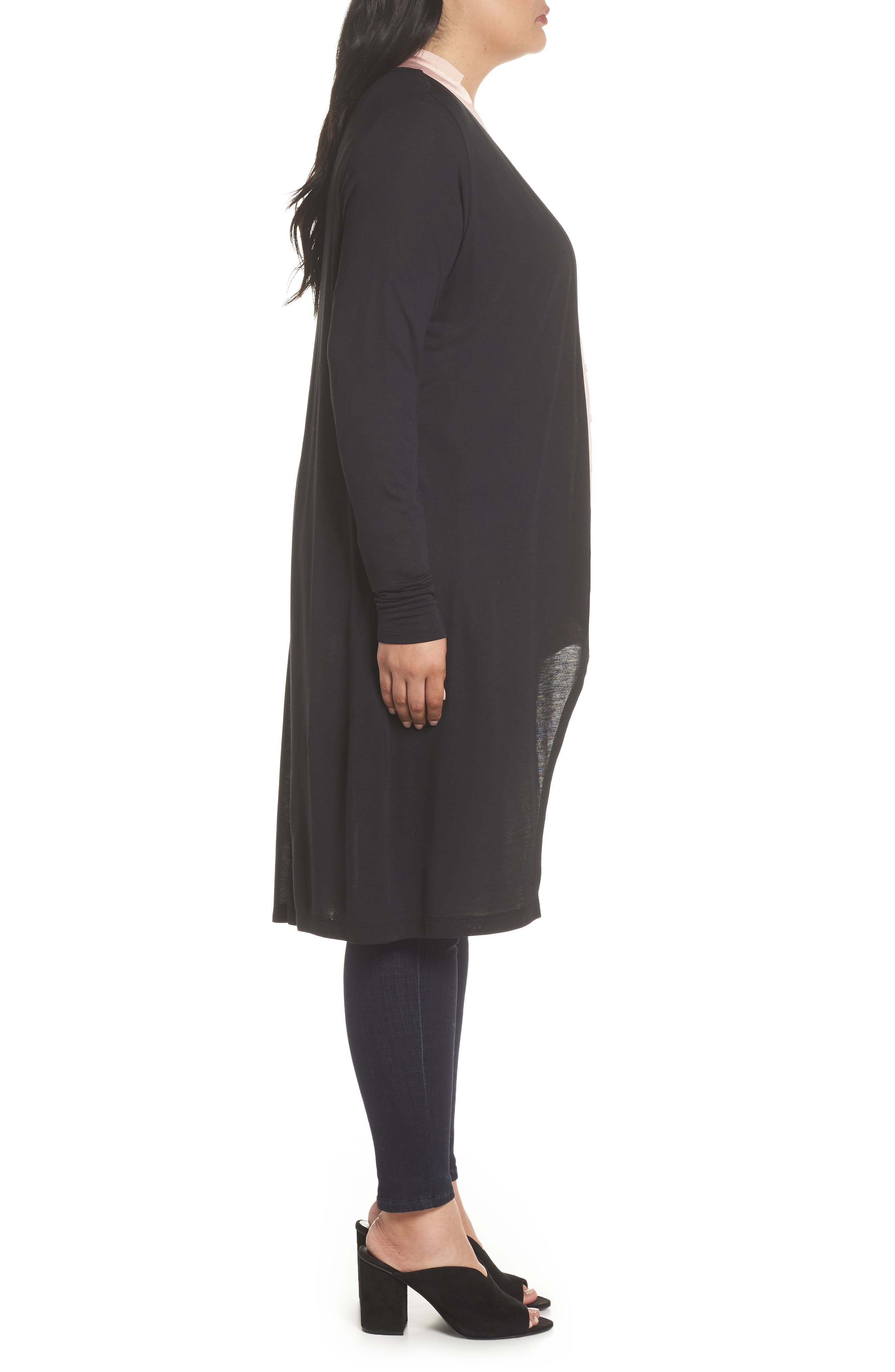 Longline Jersey Cardigan,                             Alternate thumbnail 3, color,                             001