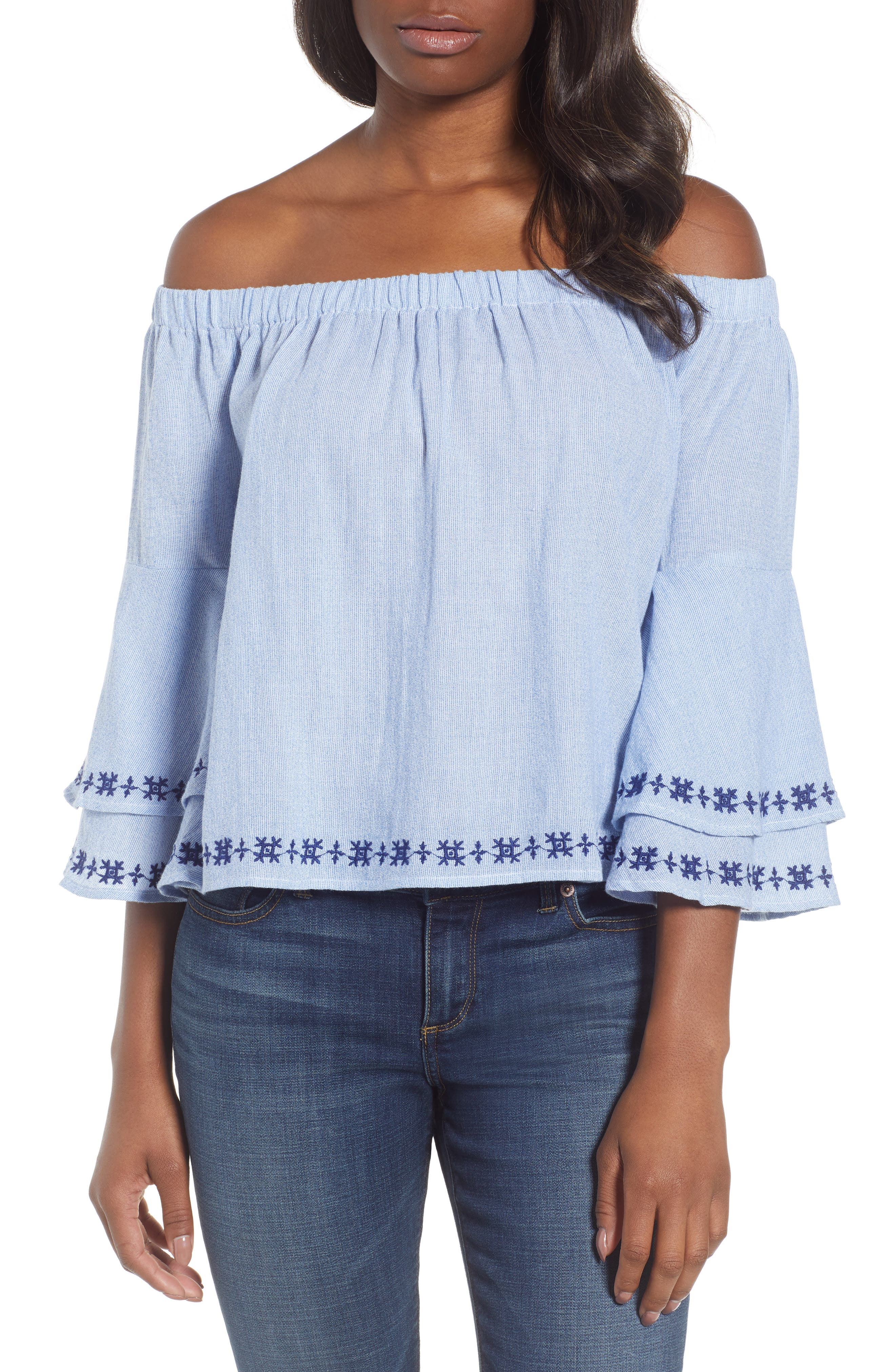 Pinstriped Embroidered Off the Shoulder Cotton Top,                             Main thumbnail 1, color,                             461