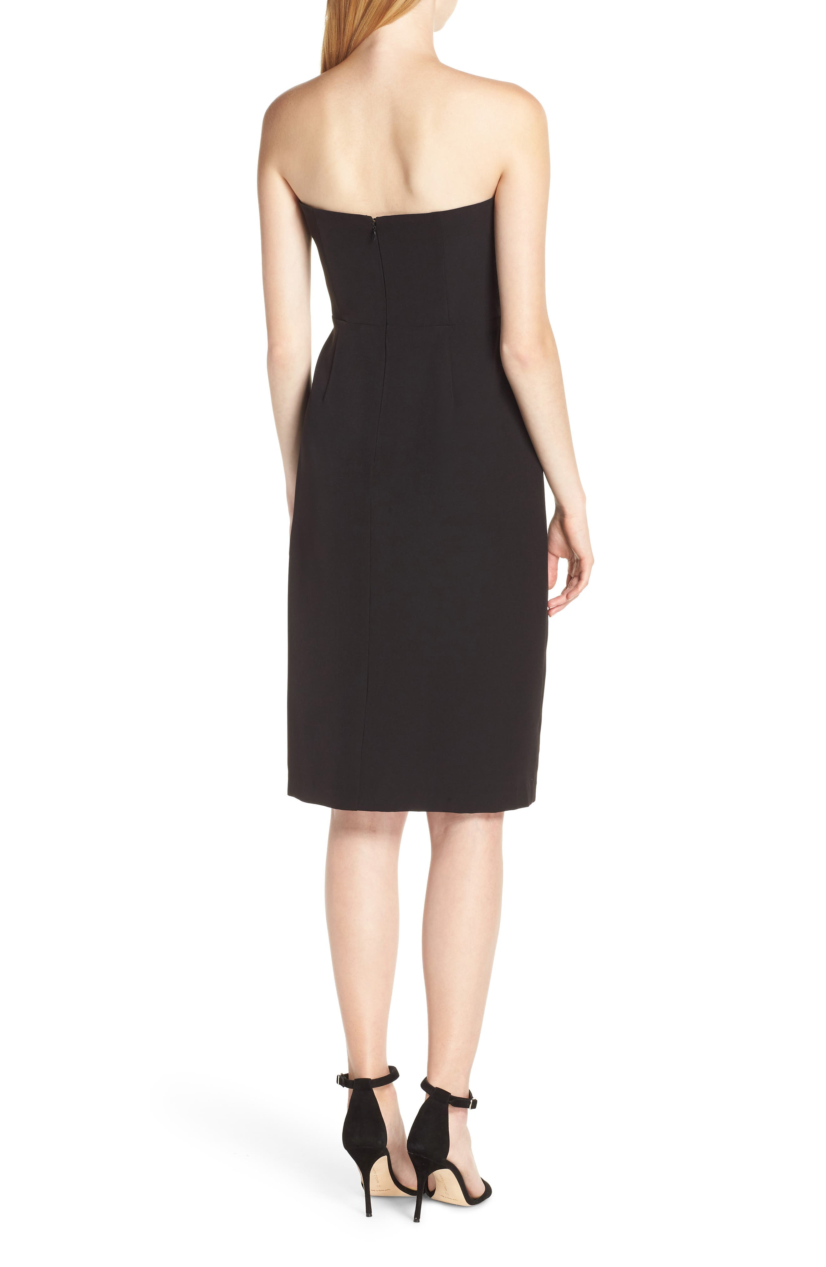 Strapless Bow Detail Sheath Dress,                             Alternate thumbnail 2, color,                             BLACK
