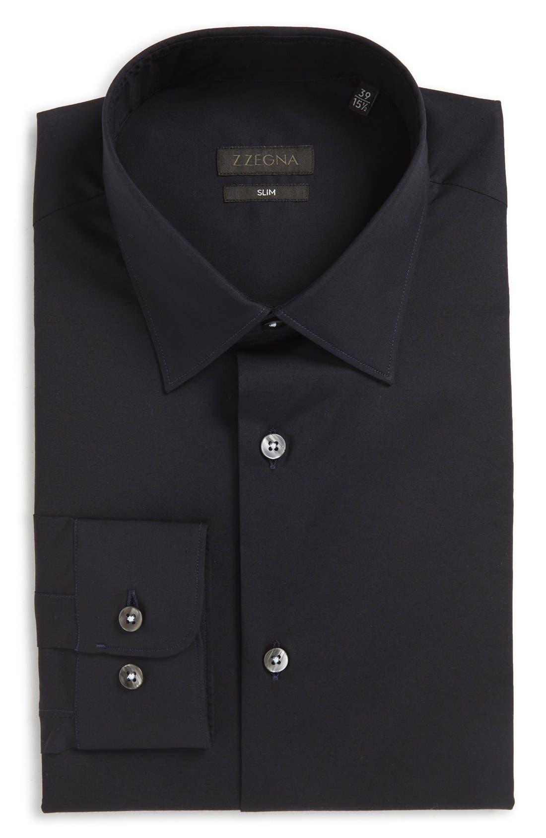 Slim Fit Solid Stretch Dress Shirt,                         Main,                         color, BLUE