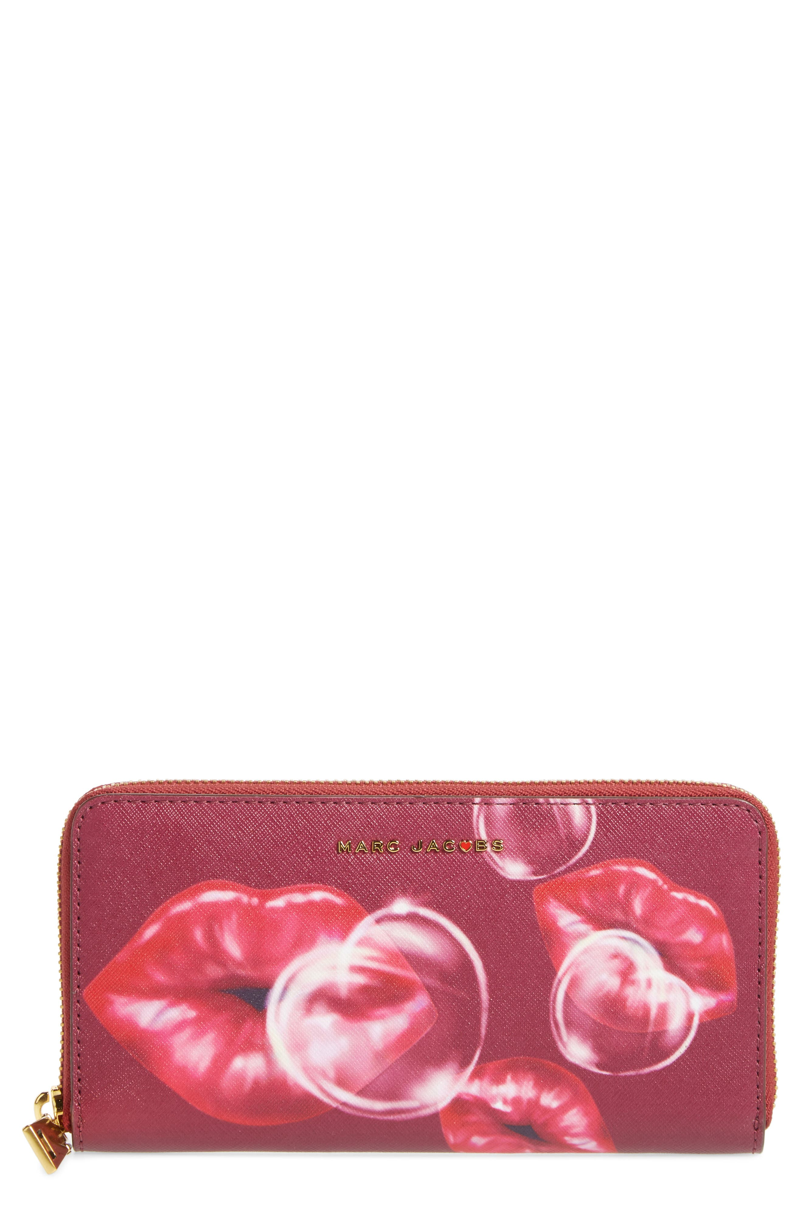 Lips Saffiano Leather Zip Around Wallet,                             Main thumbnail 1, color,                             653