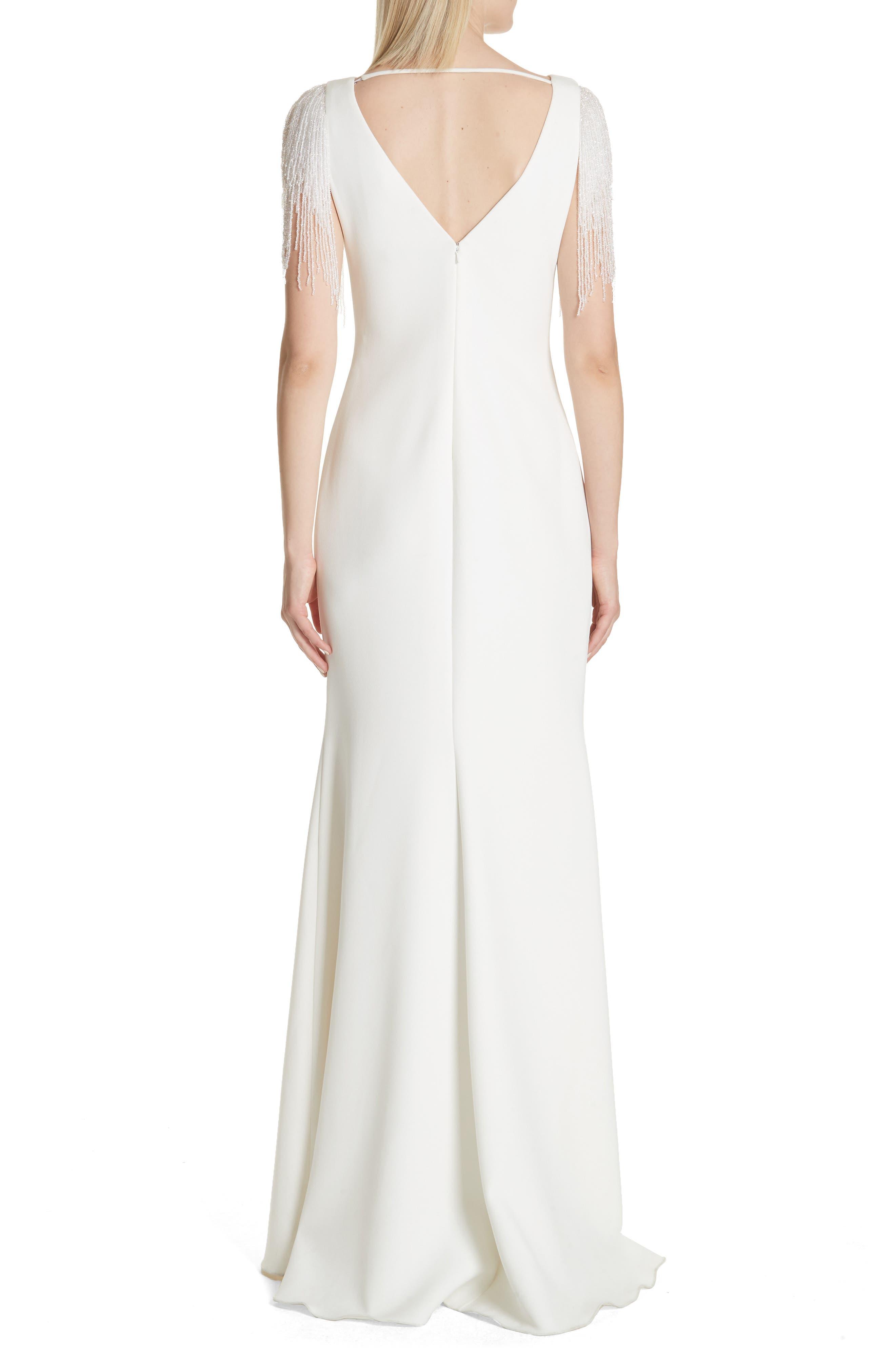 Platinum Fringe Sleeve Back Cutout Gown,                             Alternate thumbnail 2, color,                             900