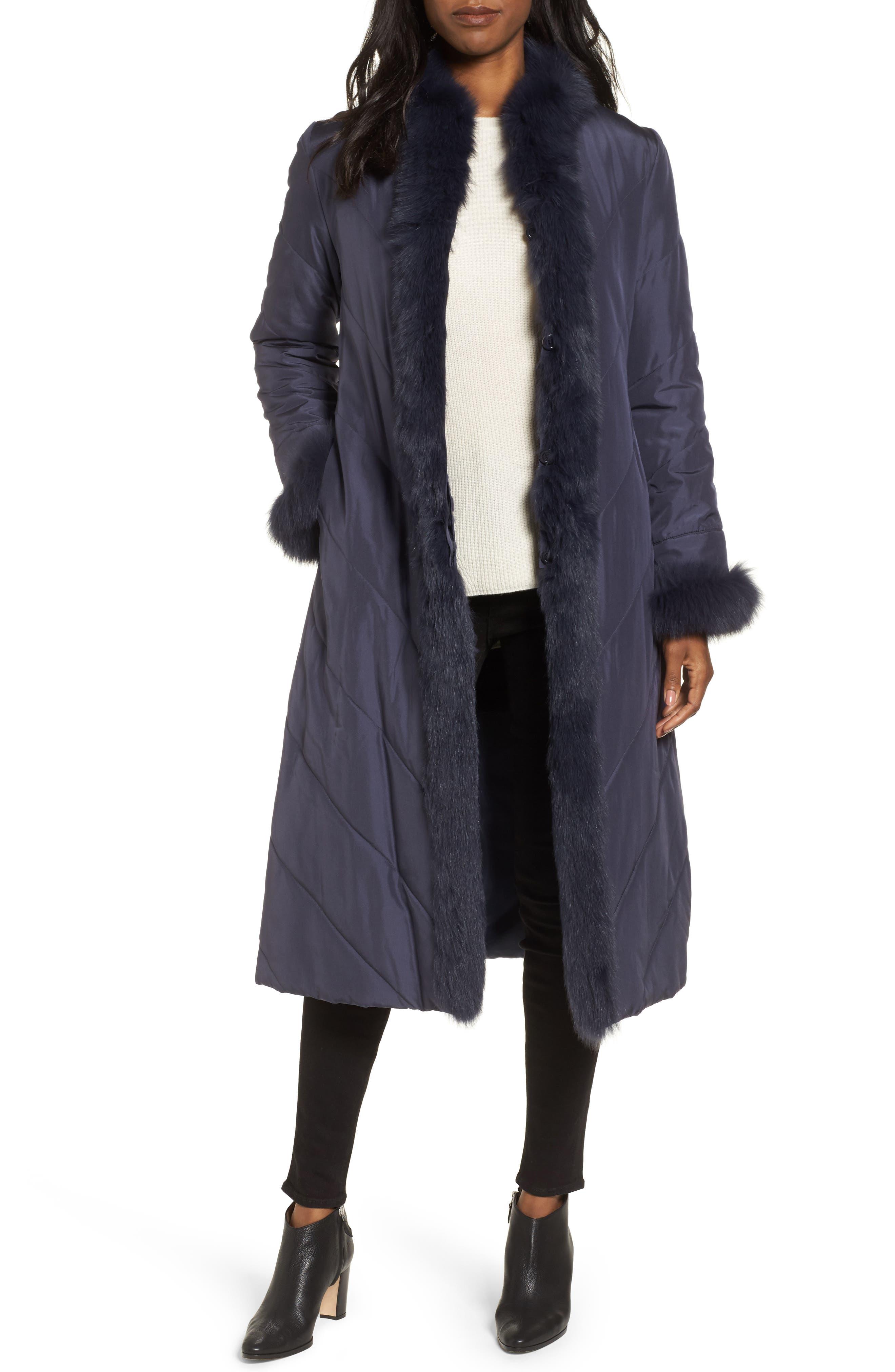 Couture Packable Silk Coat with Genuine Fox Fur & Genuine Rabbit Fur,                             Main thumbnail 2, color,