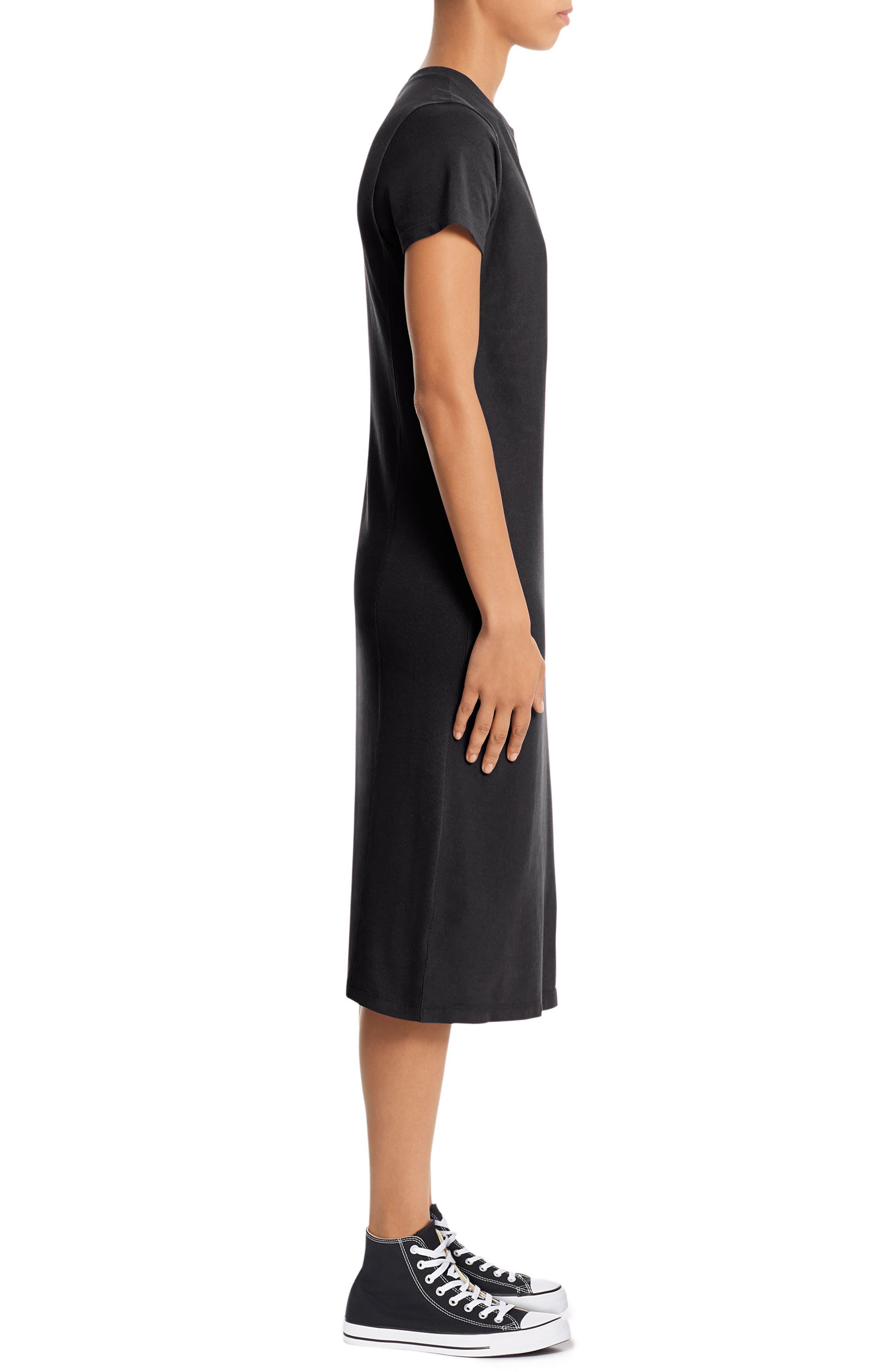 Heavyweight Jersey T-Shirt Dress,                             Alternate thumbnail 3, color,                             001