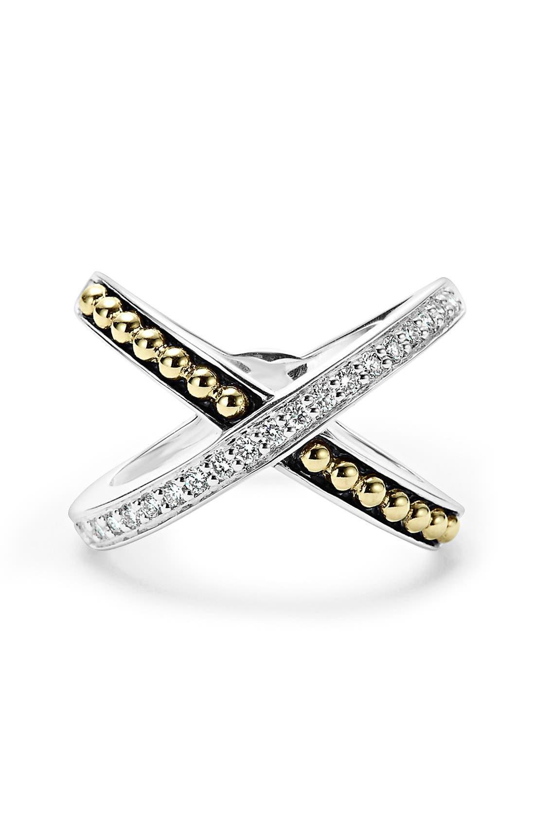 KSL Diamond Pavé Crossover Ring,                             Alternate thumbnail 4, color,                             SILVER/ GOLD/ DIAMOND