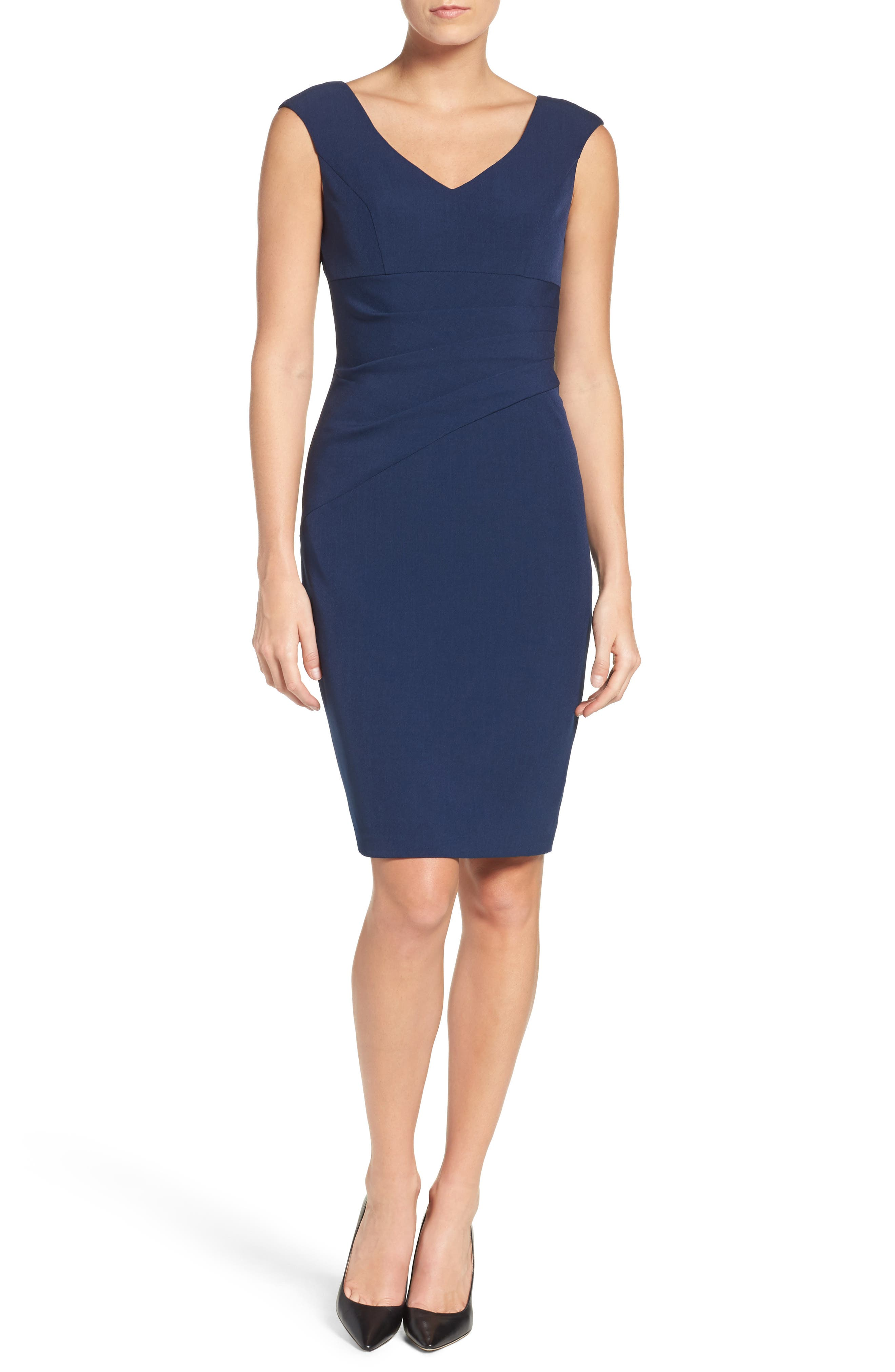 Crepe Sheath Dress,                             Alternate thumbnail 9, color,