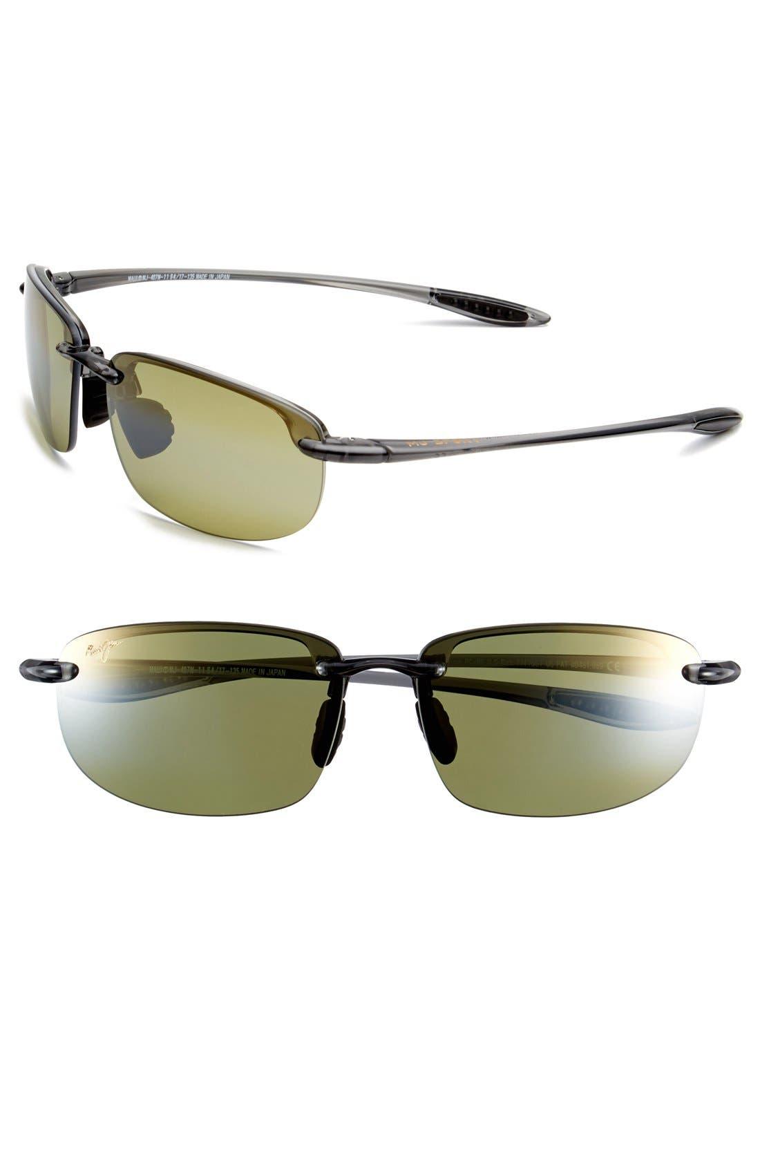 'Ho'okipa - PolarizedPlus<sup>®</sup>2' 63mm Sunglasses,                         Main,                         color, SMOKE GREY/ MAUI HT