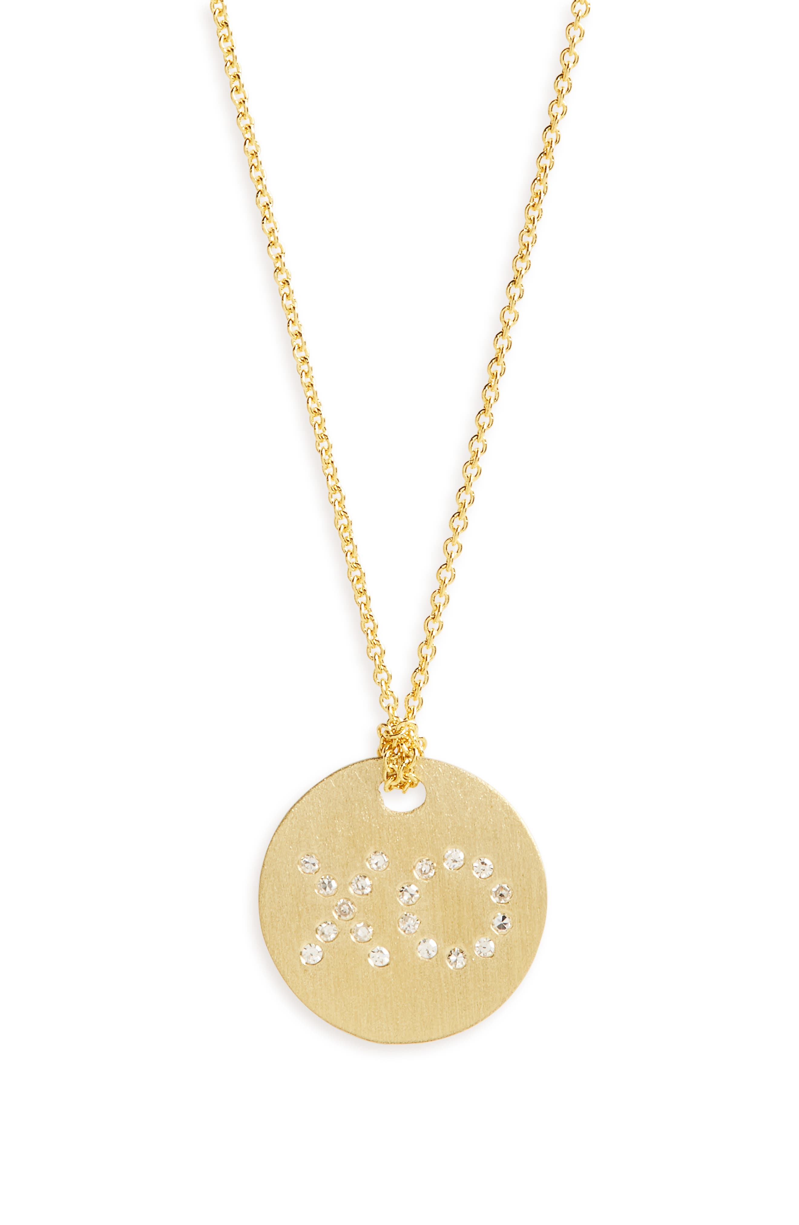 Diamond XO Medallion Necklace,                         Main,                         color, YELLOW GOLD