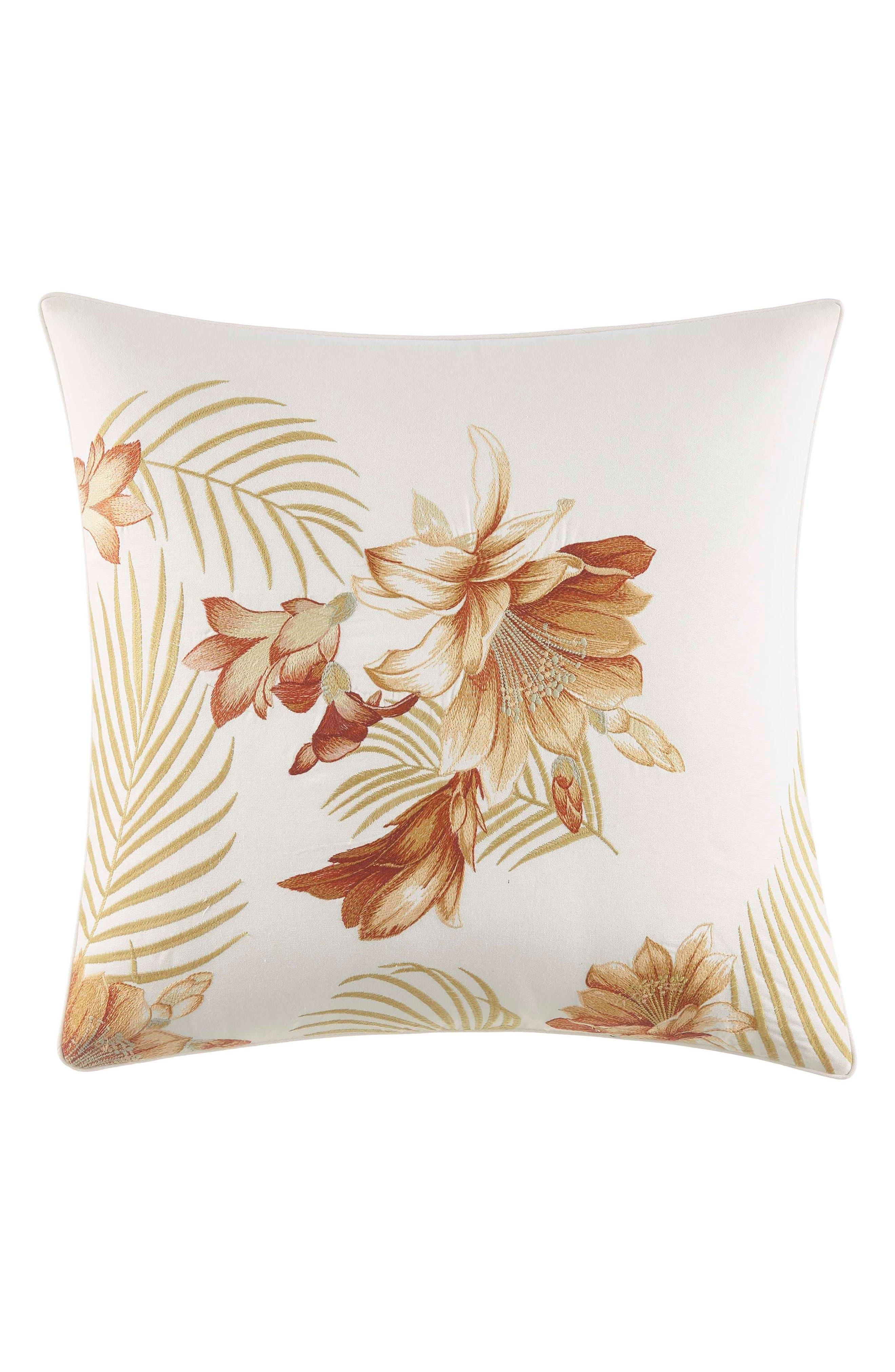 Loredo Gardens Square Accent Pillow, Main, color, ORANGE
