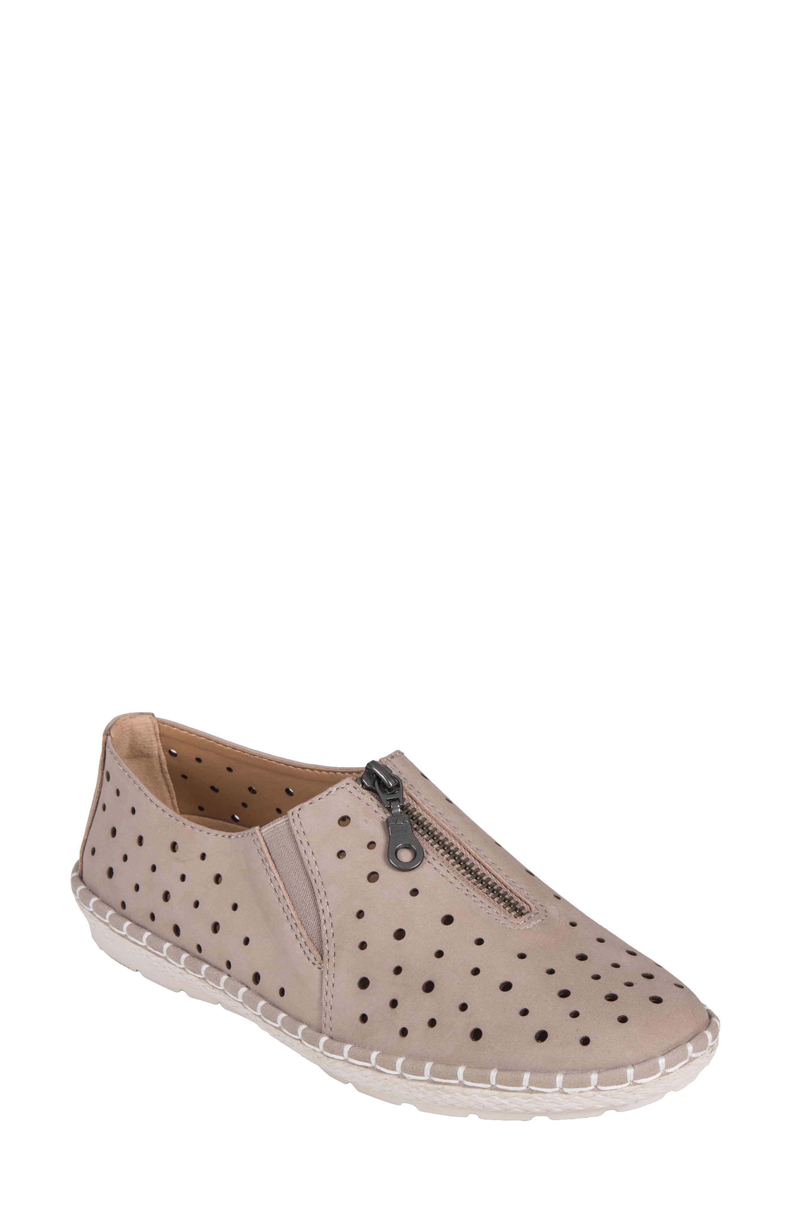 Callisto Perforated Zip Moccasin,                         Main,                         color, TAUPE NUBUCK