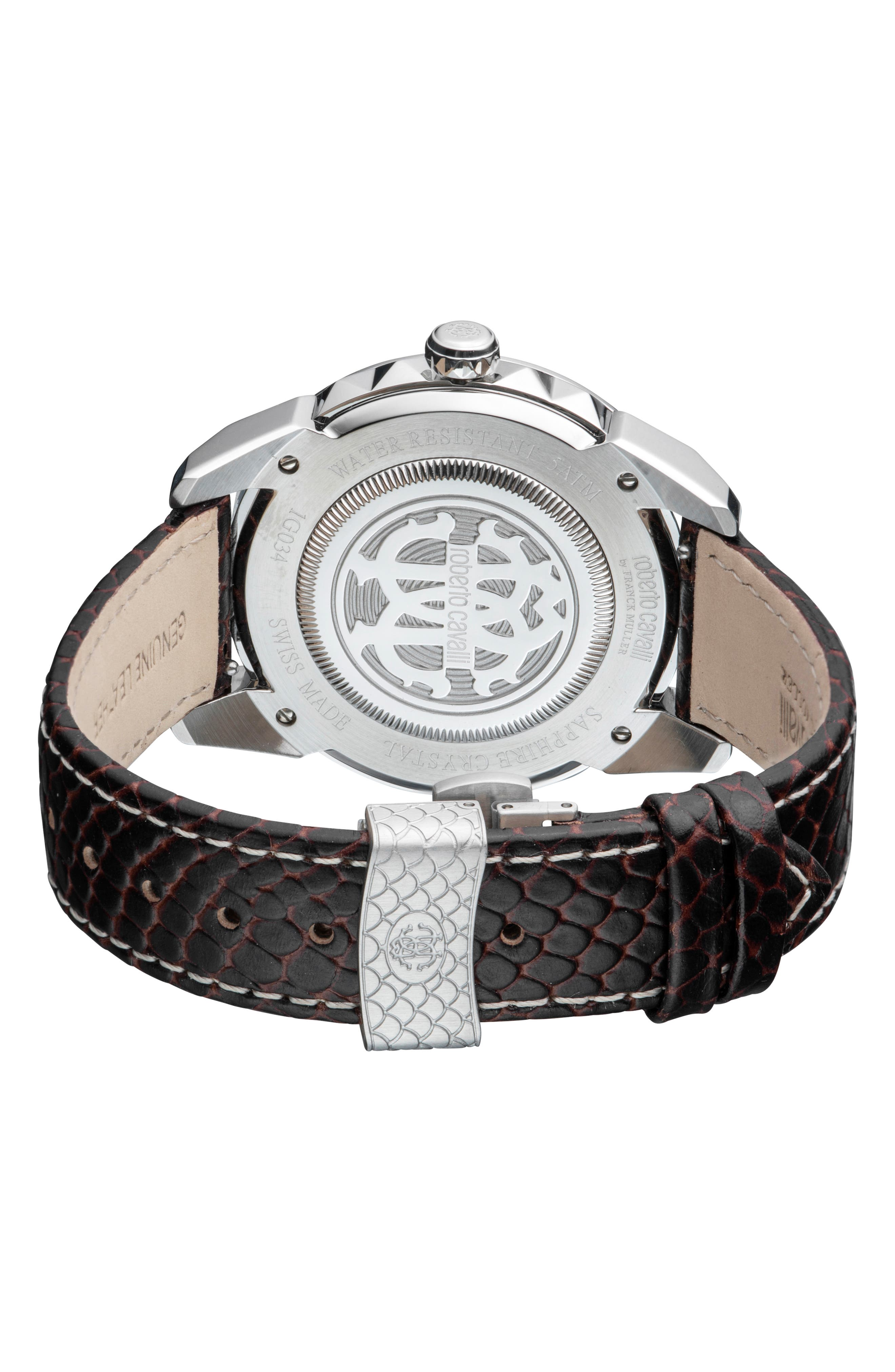 Costellato Leather Strap Watch,                             Alternate thumbnail 2, color,                             BROWN/ SILVER