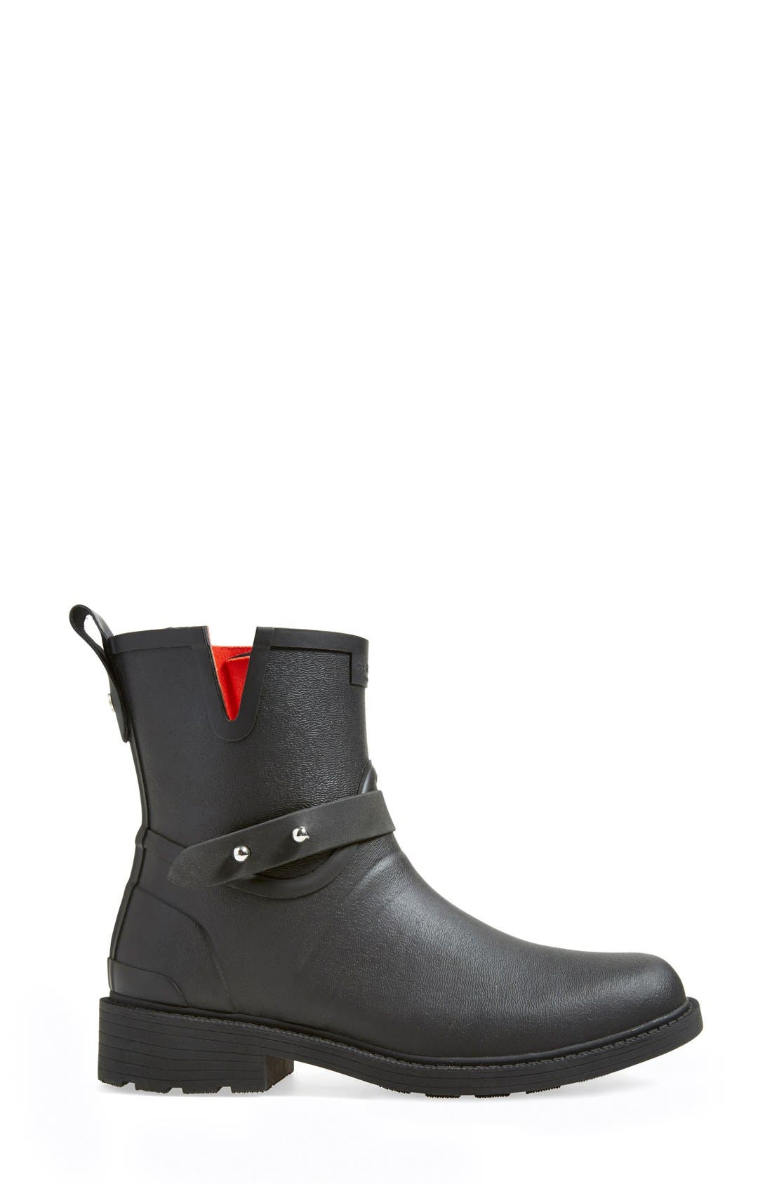 Moto Rain Boot,                             Alternate thumbnail 4, color,                             BLACK RUBBER
