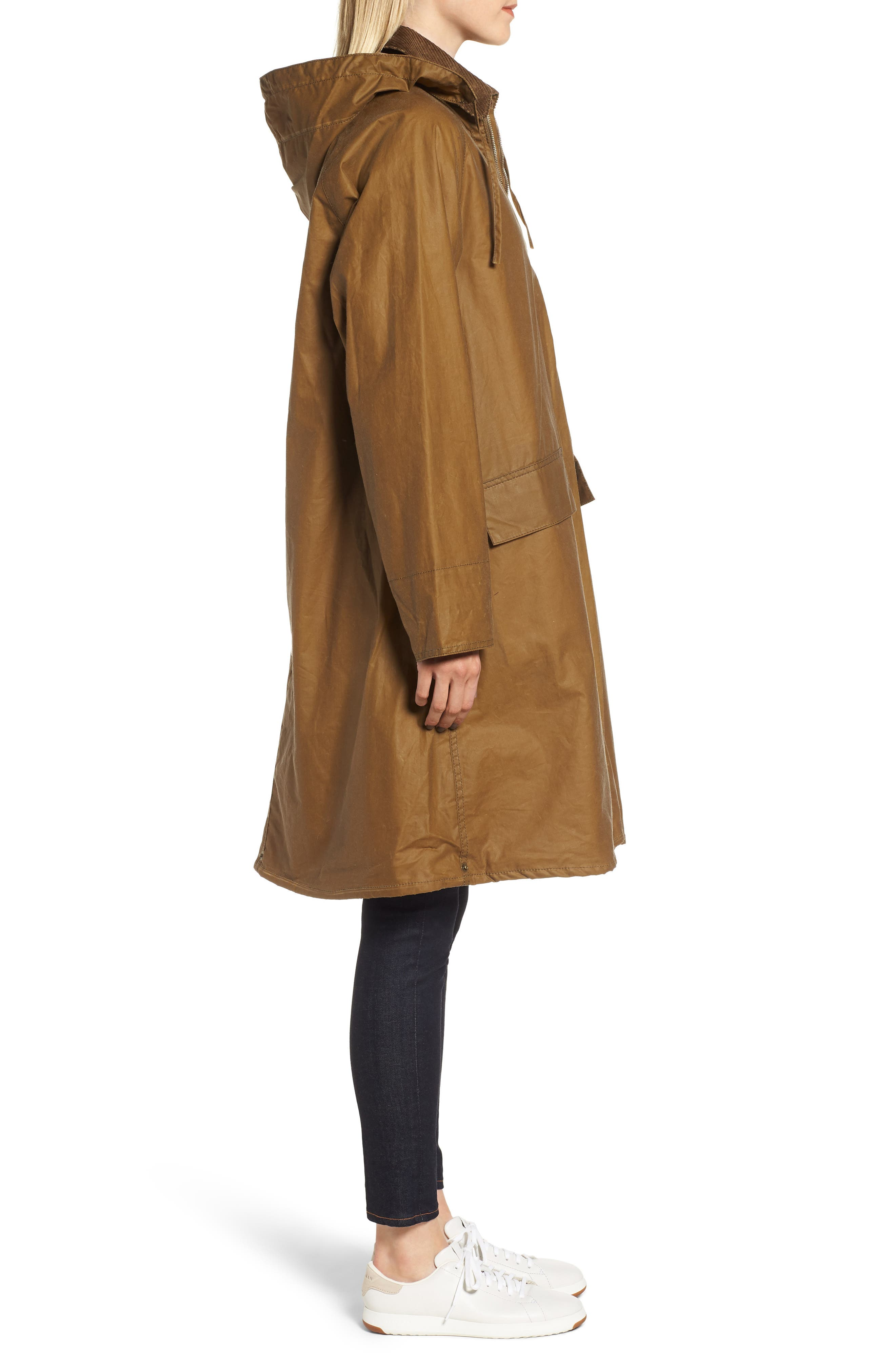 Margaret Howell Water Resistant Waxed Cotton Poncho,                             Alternate thumbnail 3, color,                             SAND