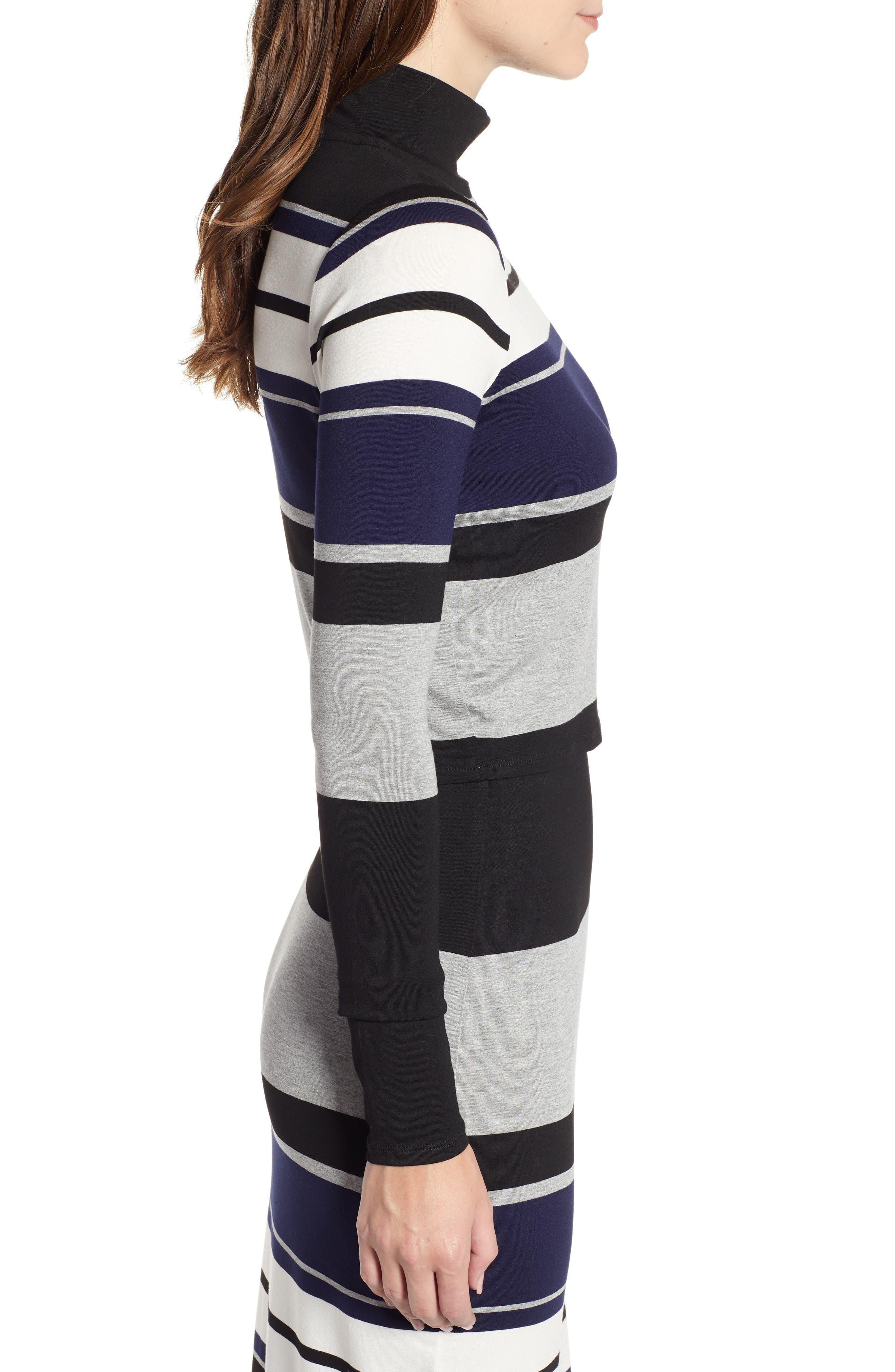 Stripe Mock Neck Tee,                             Alternate thumbnail 3, color,                             BLACK/ WHITE/ GREY