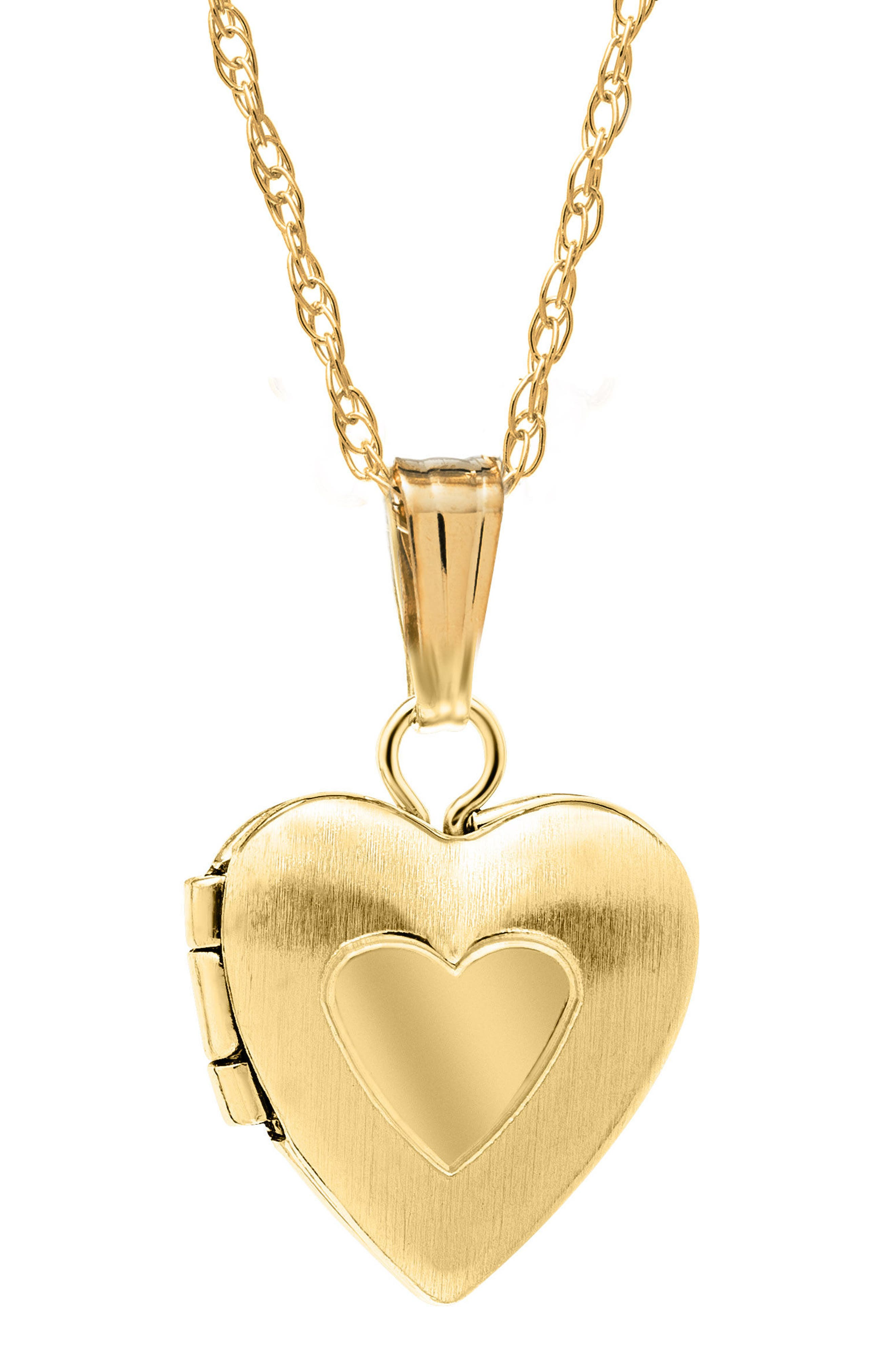 14k Gold Heart Locket Necklace,                         Main,                         color, GOLD