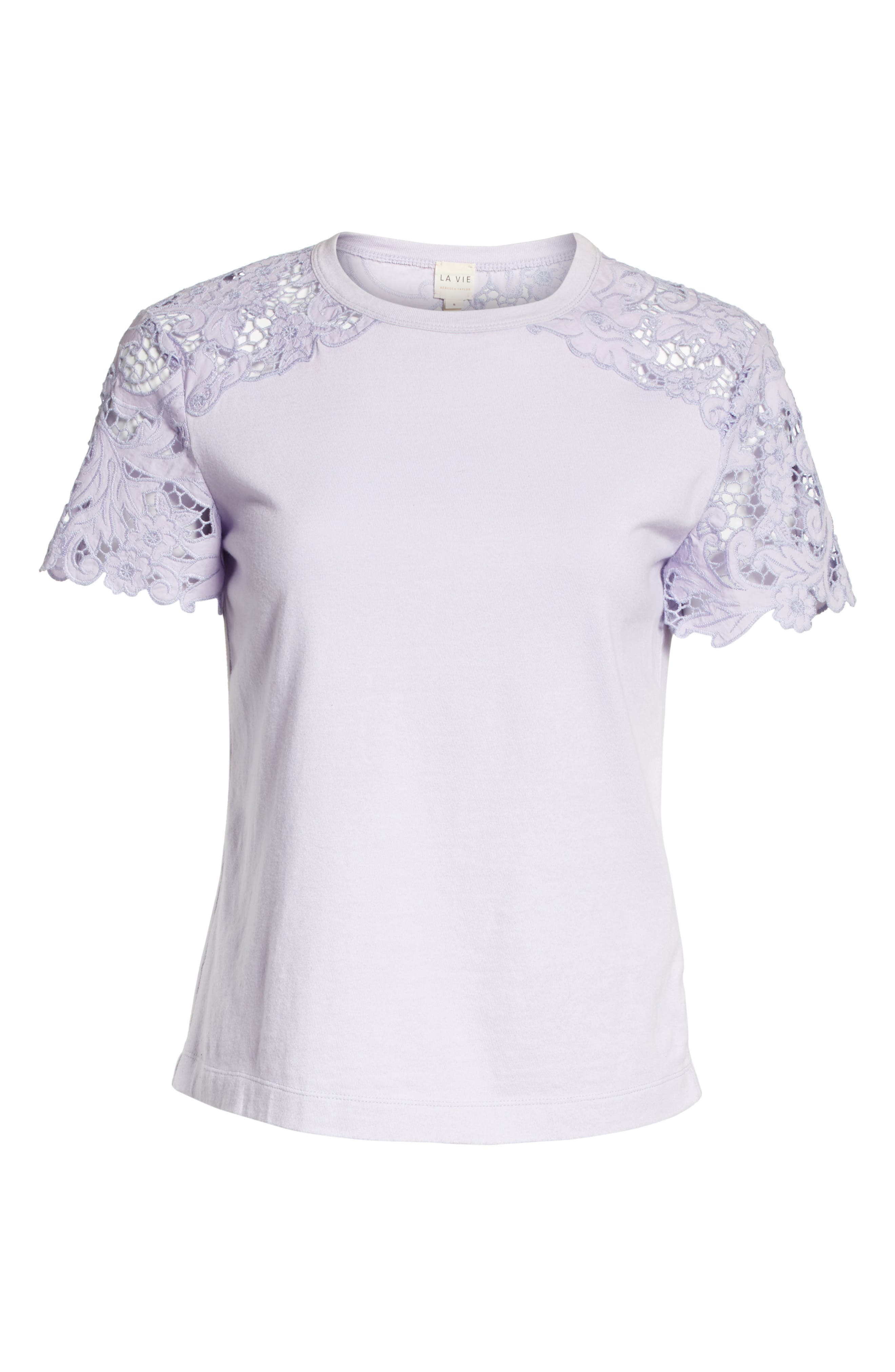 Lace Detail Tee,                             Alternate thumbnail 12, color,