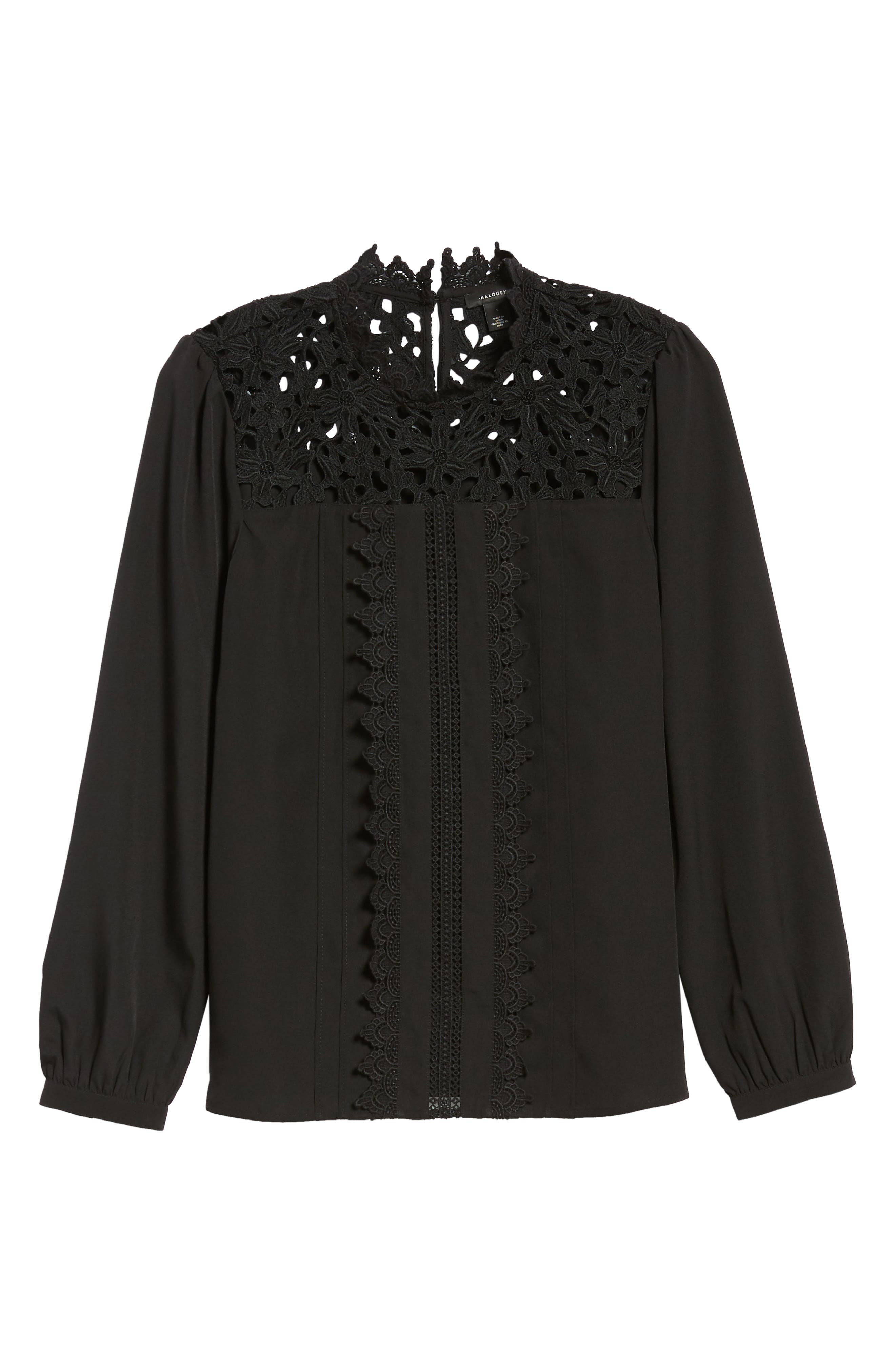 Lace Yoke Blouse,                             Alternate thumbnail 6, color,                             001