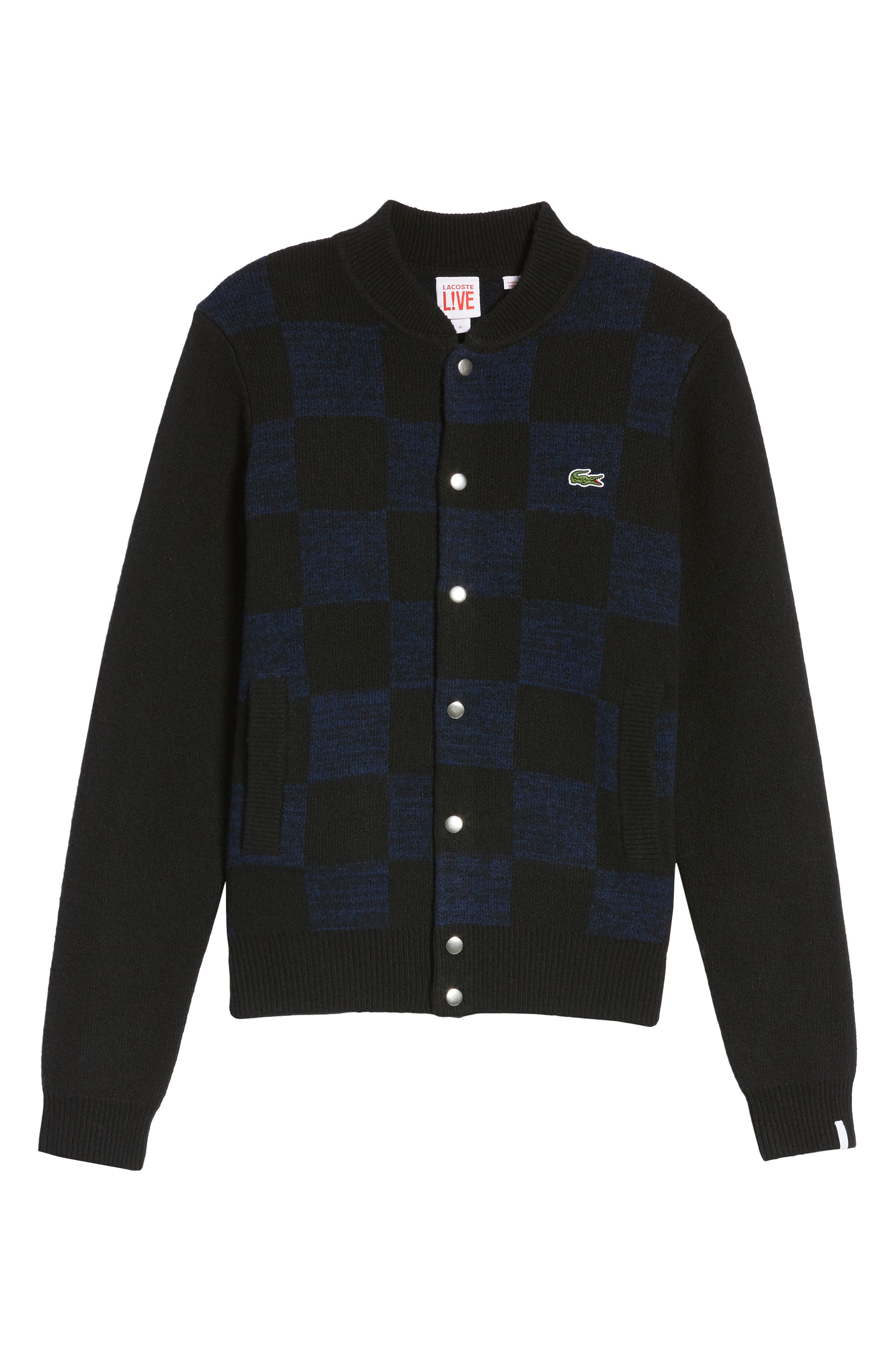 Double Face Check Sweater Jacket,                             Alternate thumbnail 6, color,                             006