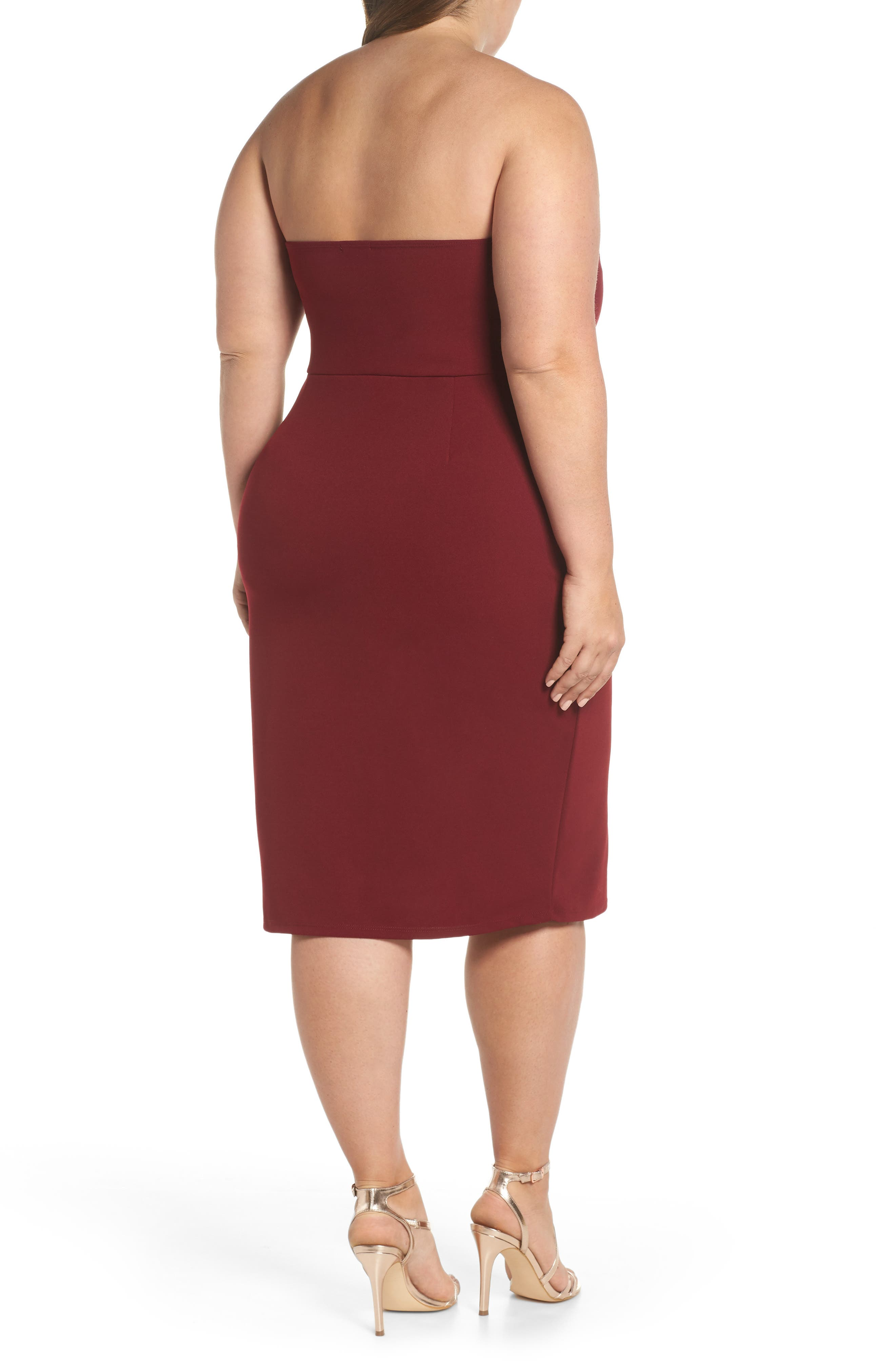 LEITH,                             Strapless Sheath Dress,                             Alternate thumbnail 2, color,                             RED GRAPE