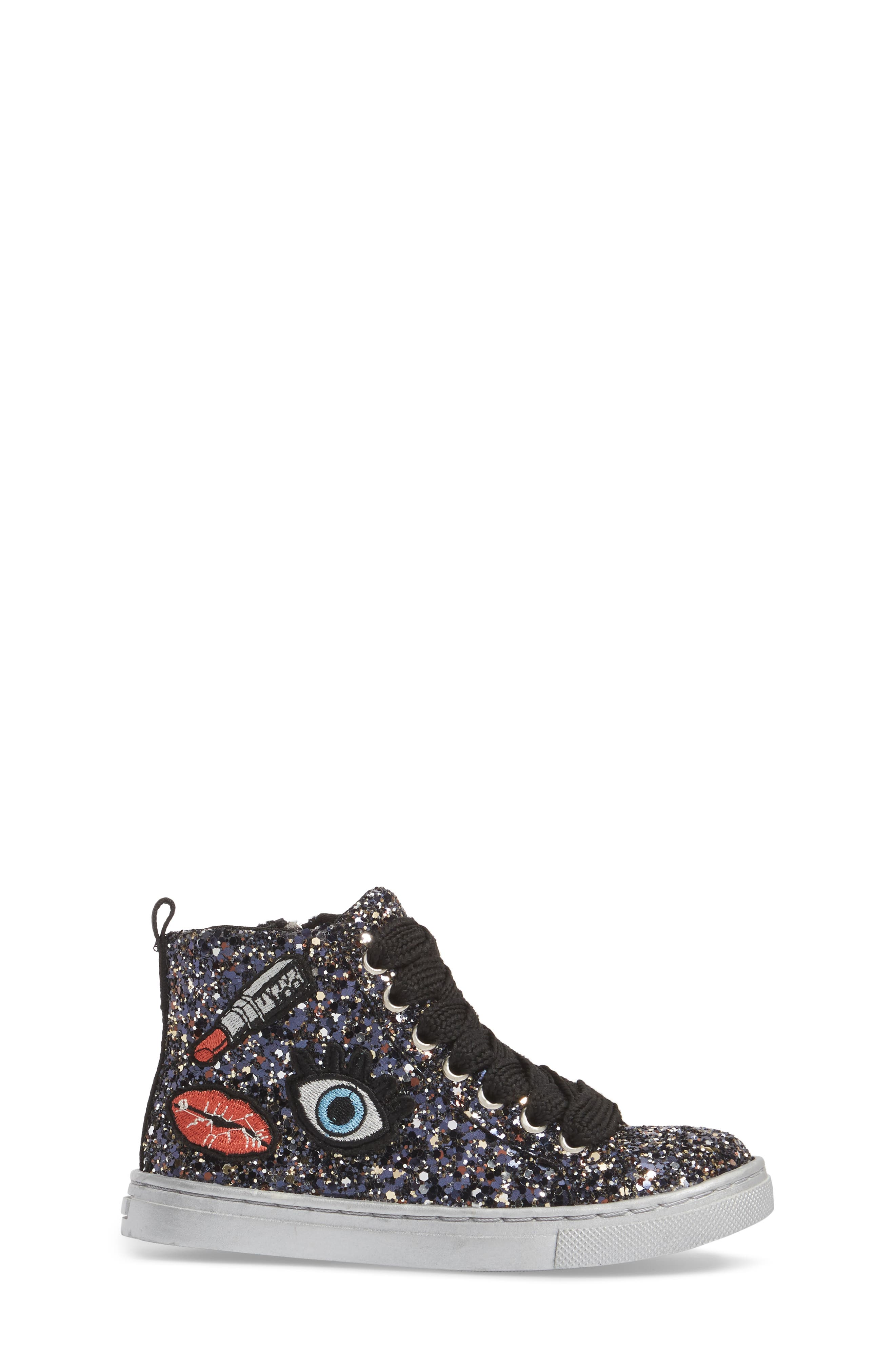 Zaine Glittery High Top Sneaker,                             Alternate thumbnail 3, color,                             001