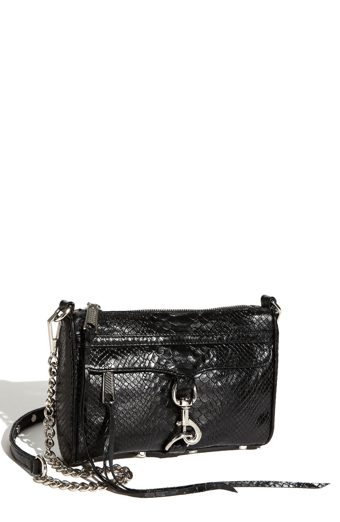 'Mini MAC' Croc Embossed Convertible Crossbody Bag,                             Main thumbnail 3, color,