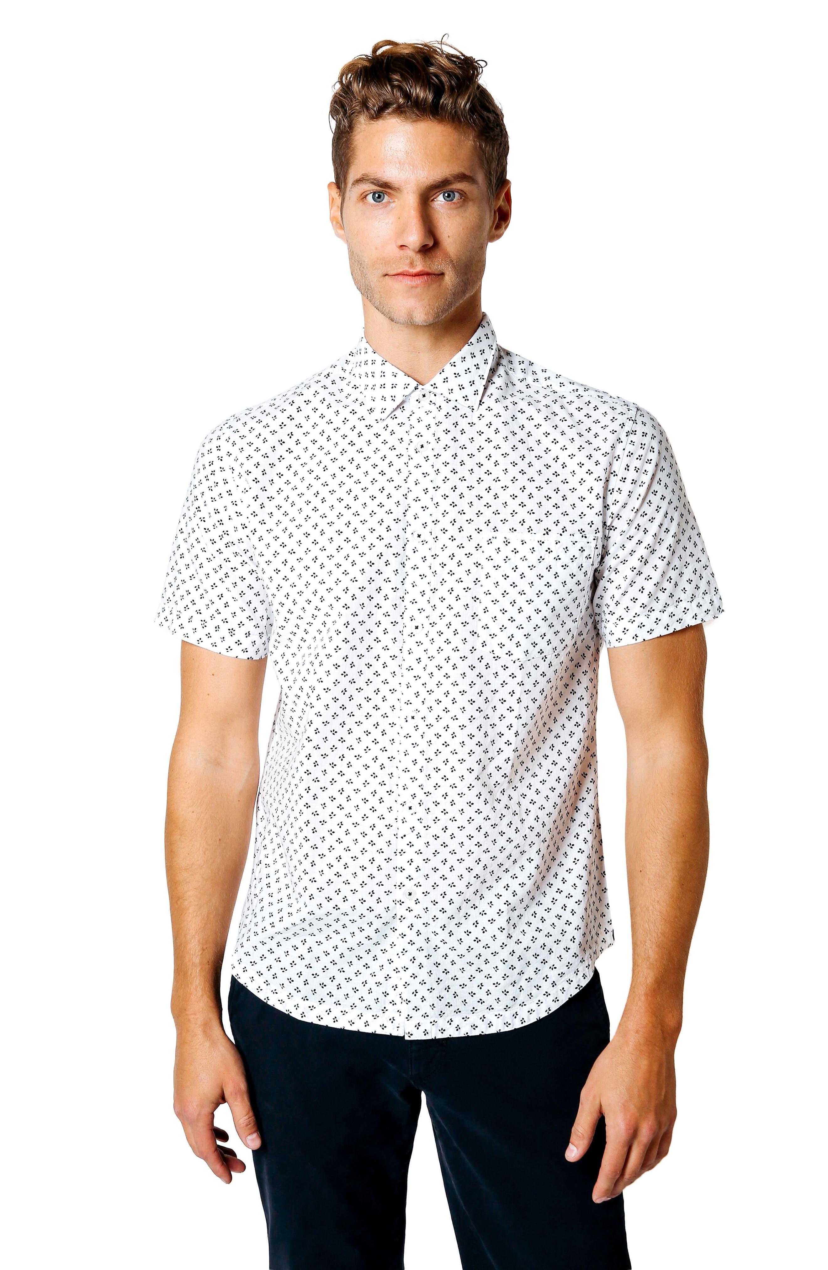 Trim Fit Print Sport Shirt,                             Alternate thumbnail 7, color,                             100
