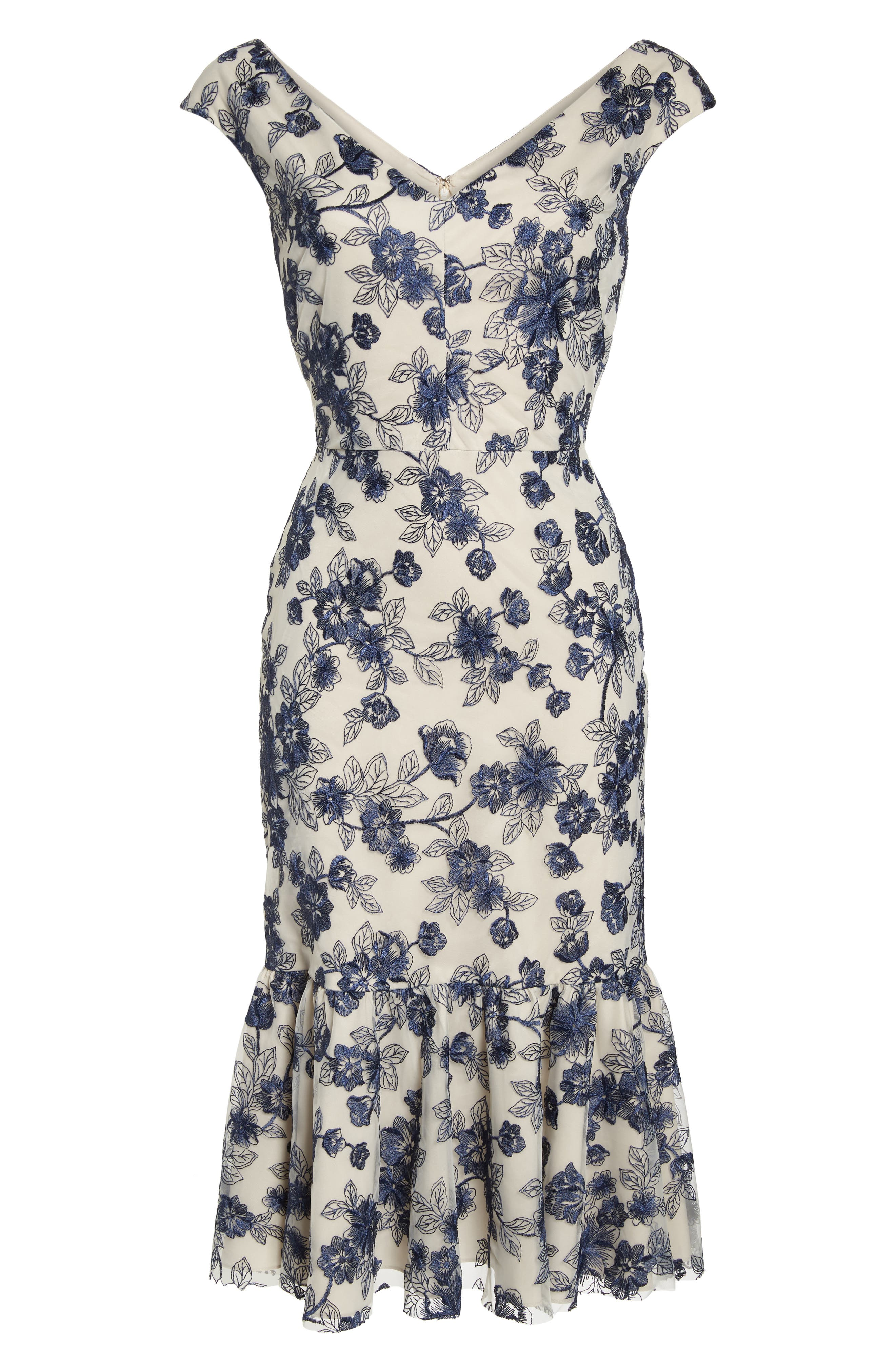 Rosemary Floral Embroidered Midi Dress,                             Alternate thumbnail 7, color,                             419
