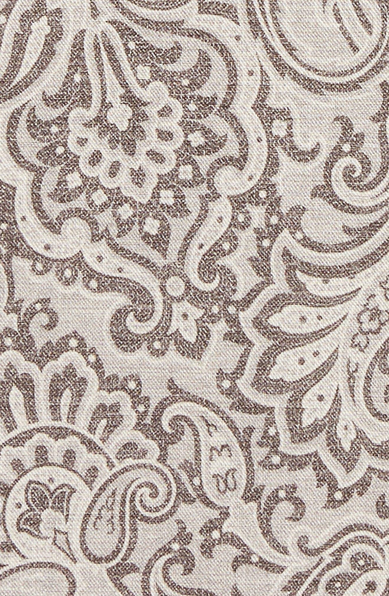 Paisley Wool & Cotton Pocket Square,                             Alternate thumbnail 3, color,                             GREY